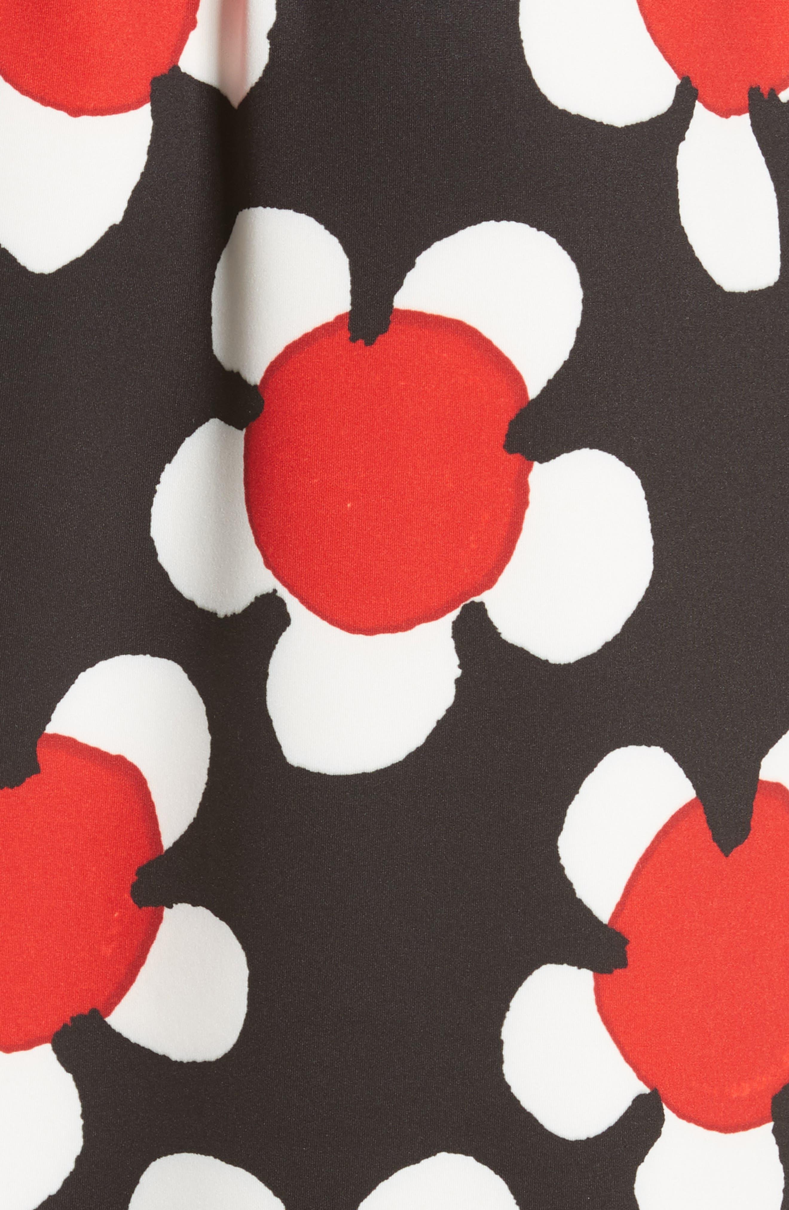 Surplice Neck Floral Print Dress,                             Alternate thumbnail 5, color,                             Red Multi