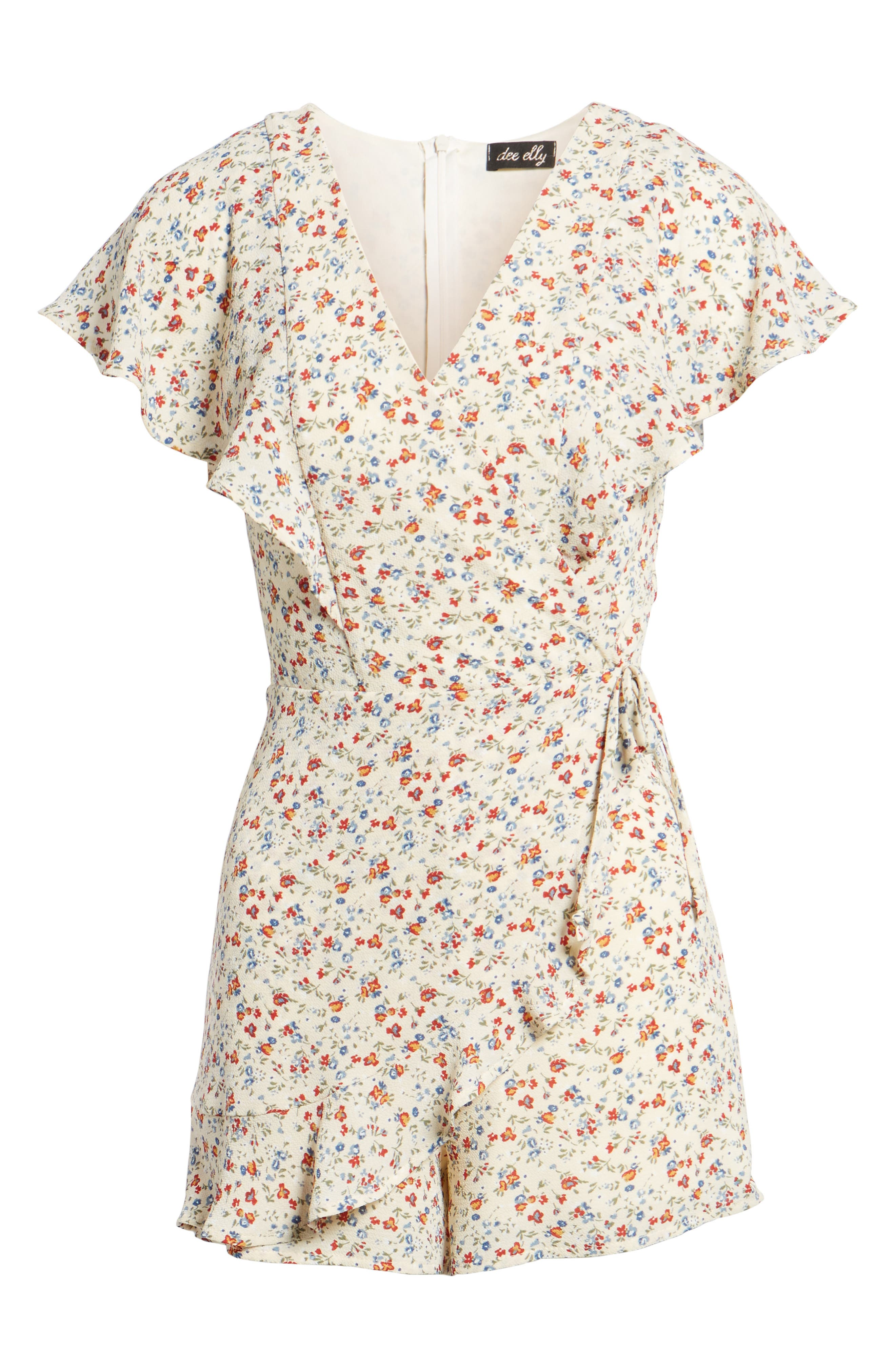 Ruffle Romper,                             Alternate thumbnail 6, color,                             Taupe Floral
