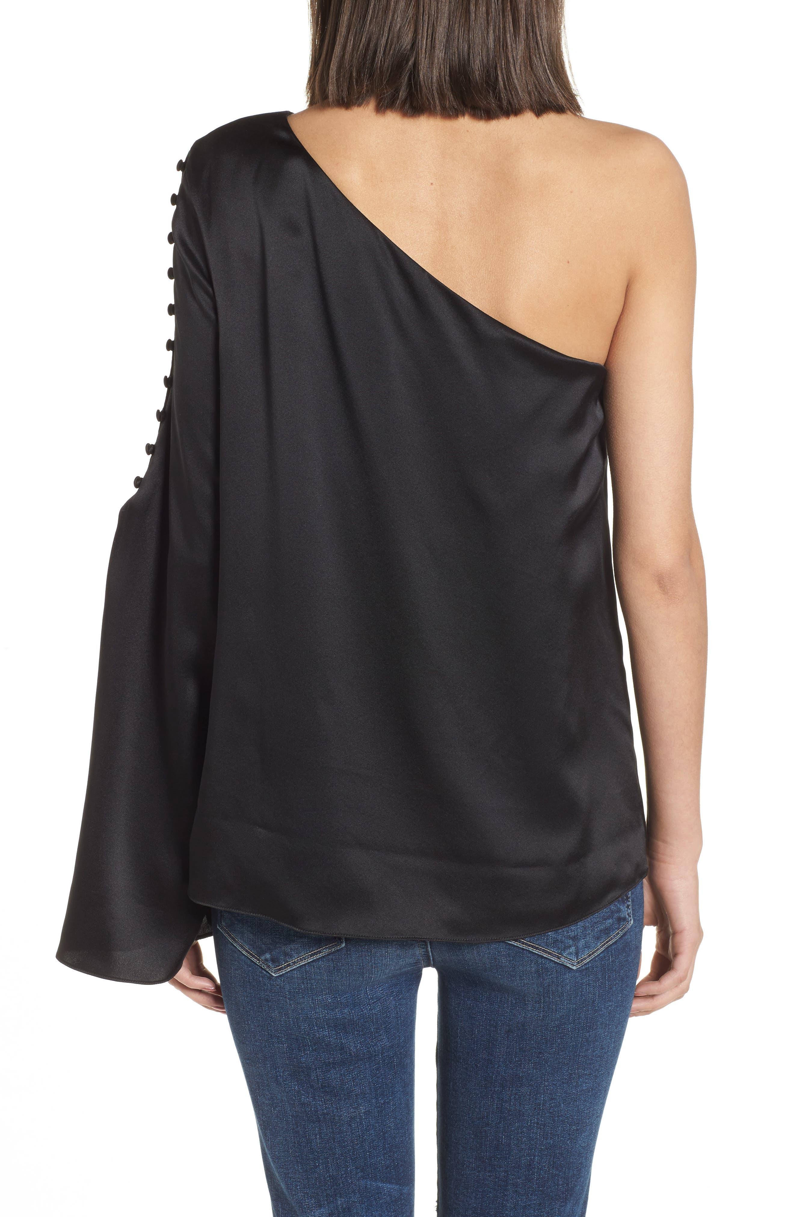 Ripley One-Shoulder Silk Blouse,                             Alternate thumbnail 2, color,                             Black