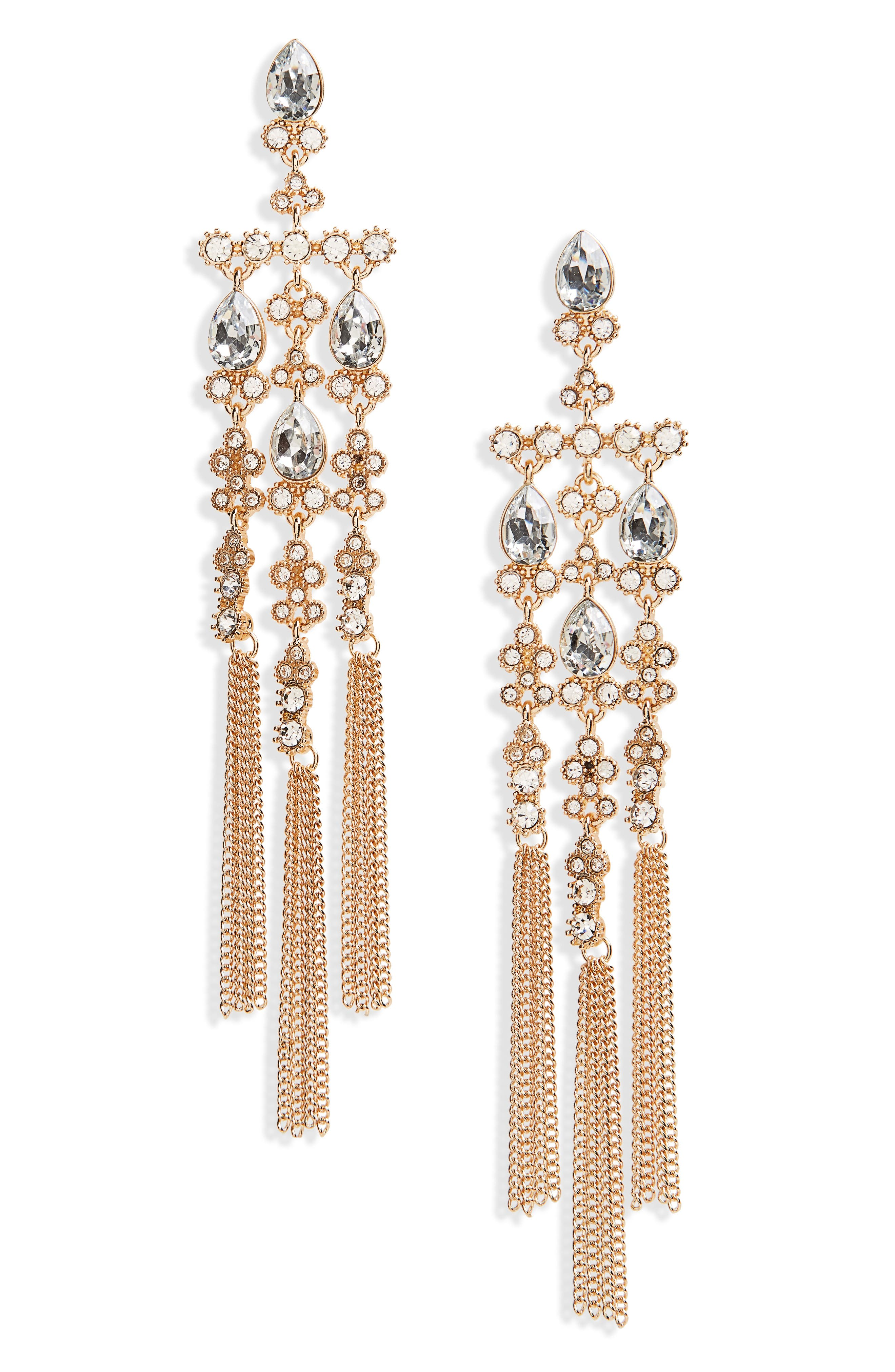 Crystal Chandelier Drop Earrings,                         Main,                         color, Gold/ Crystal/ Blue
