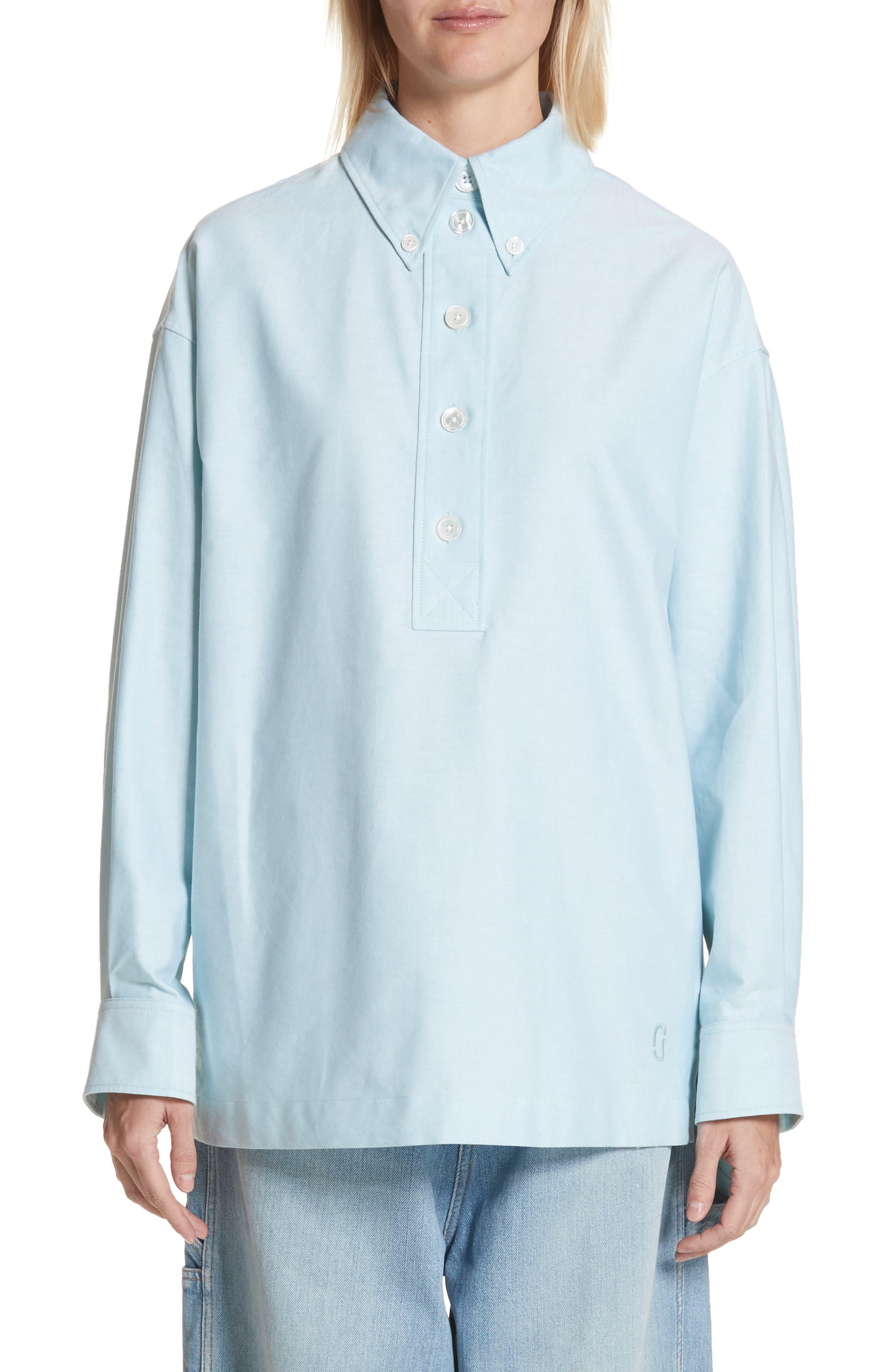 Oversize Half Placket Shirt,                             Main thumbnail 1, color,                             Light Turquoise