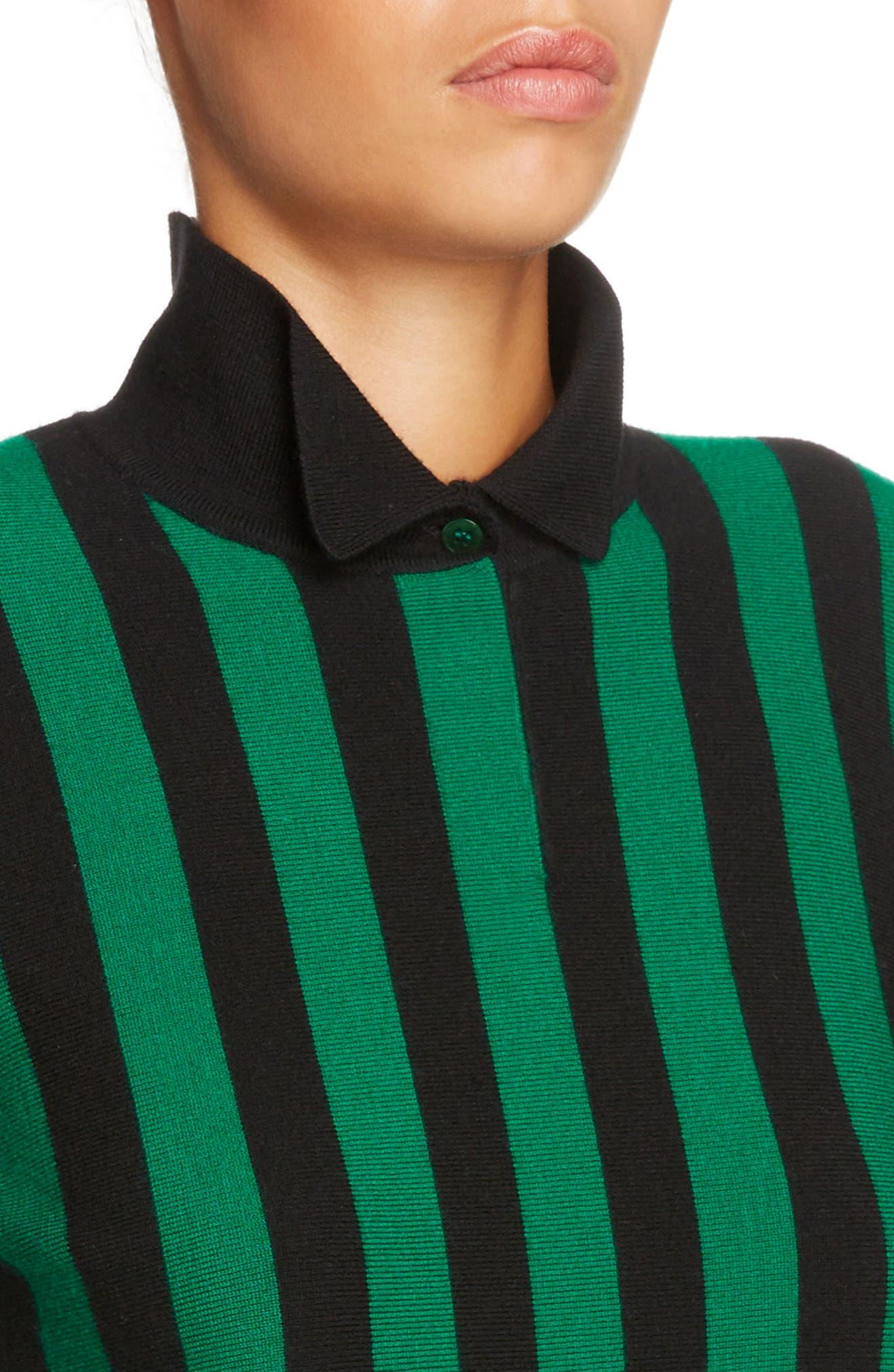 Stripe High Neck Sweater,                             Alternate thumbnail 4, color,                             Emerald