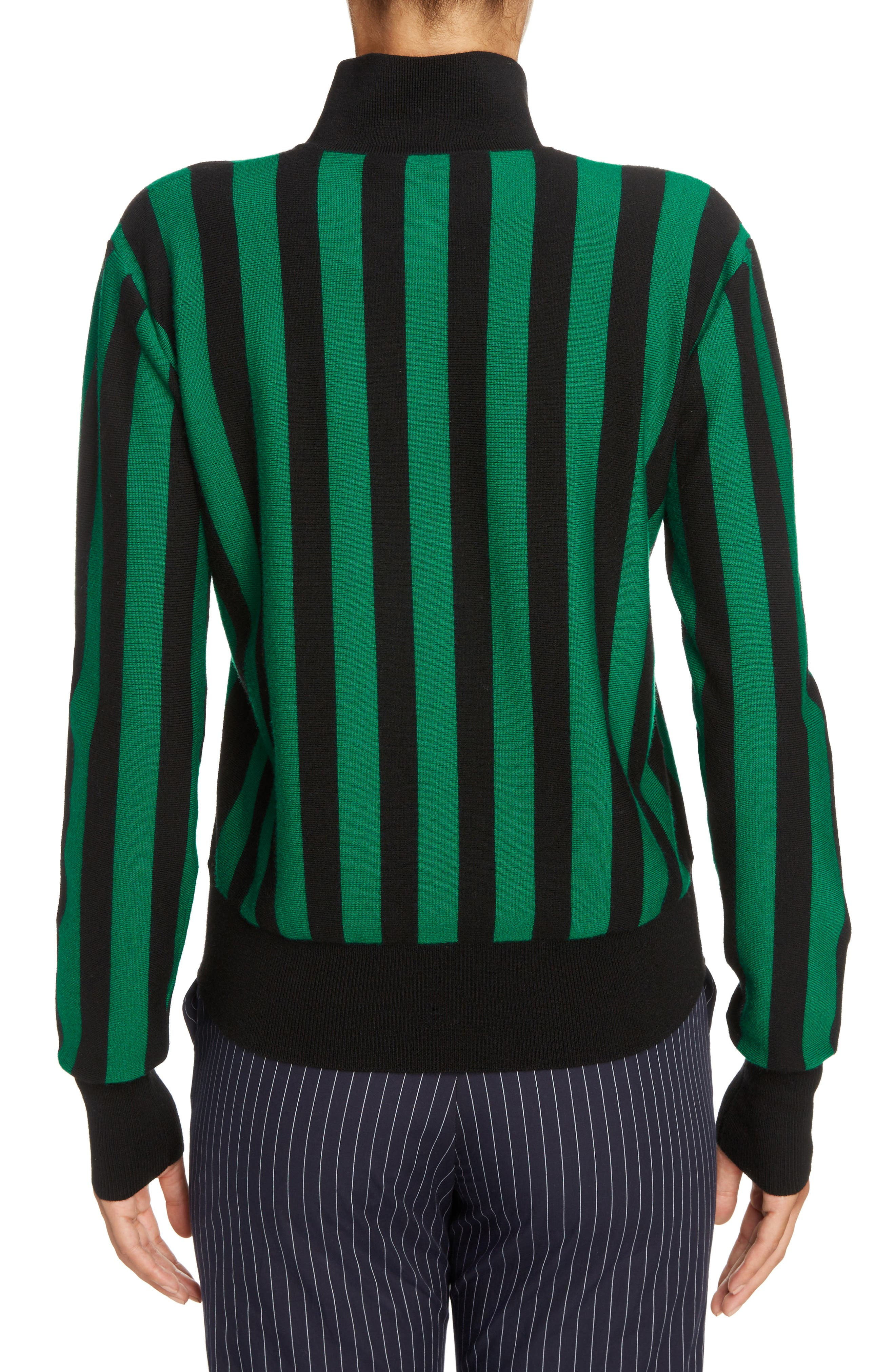 Stripe High Neck Sweater,                             Alternate thumbnail 2, color,                             Emerald