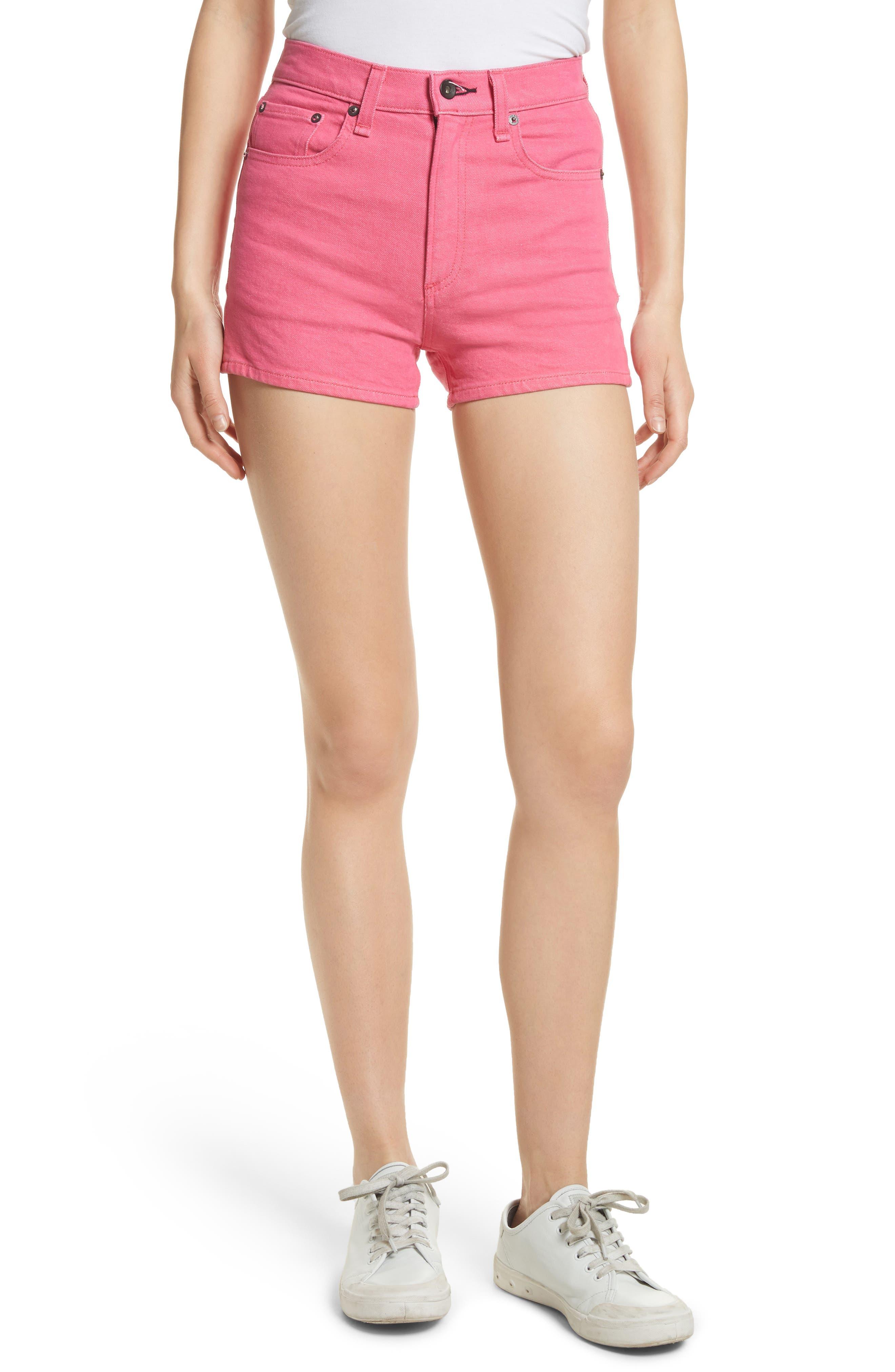 Justine High Waist Denim Shorts,                             Main thumbnail 1, color,                             Bull Pink