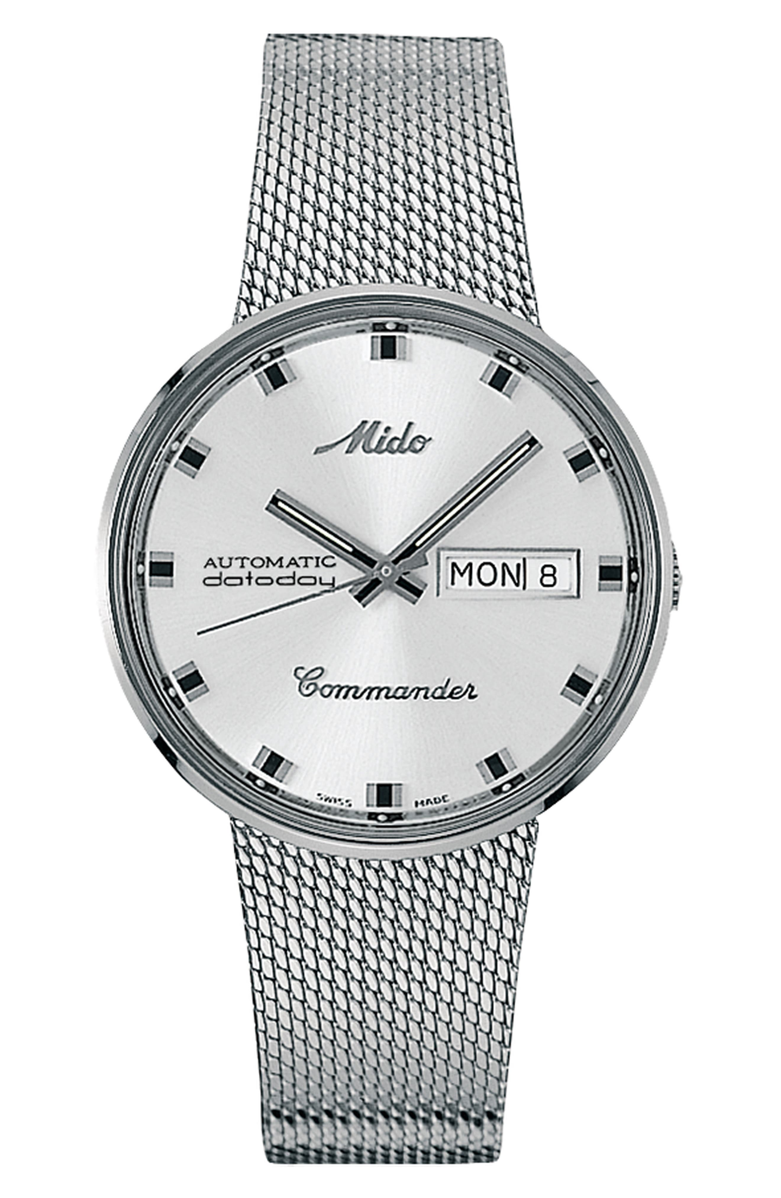 Alternate Image 1 Selected - MIDO Commander Automatic Mesh Strap Watch, 37mm