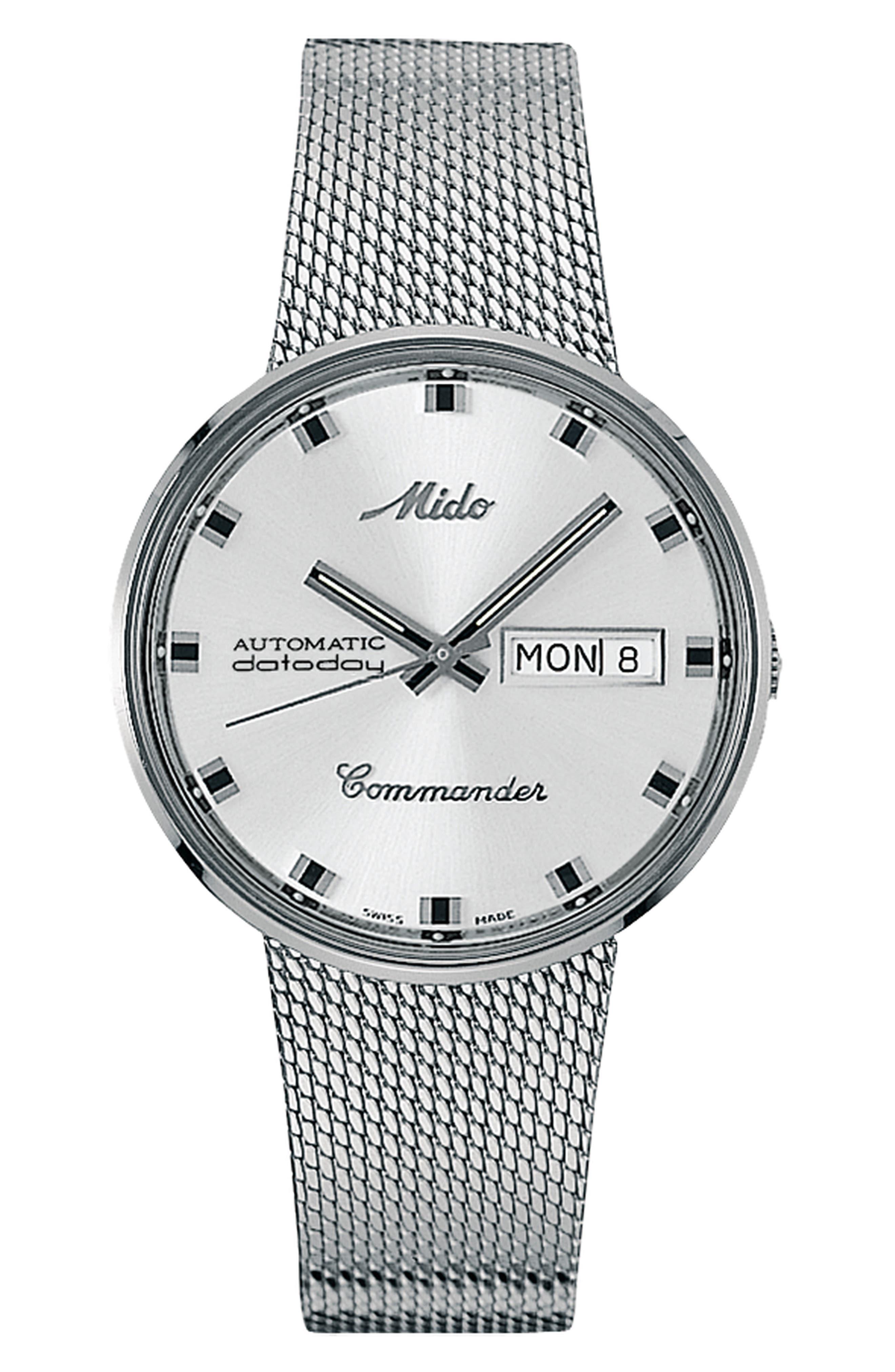 Commander Automatic Mesh Strap Watch, 37mm,                         Main,                         color, Silver/ White/ Silver