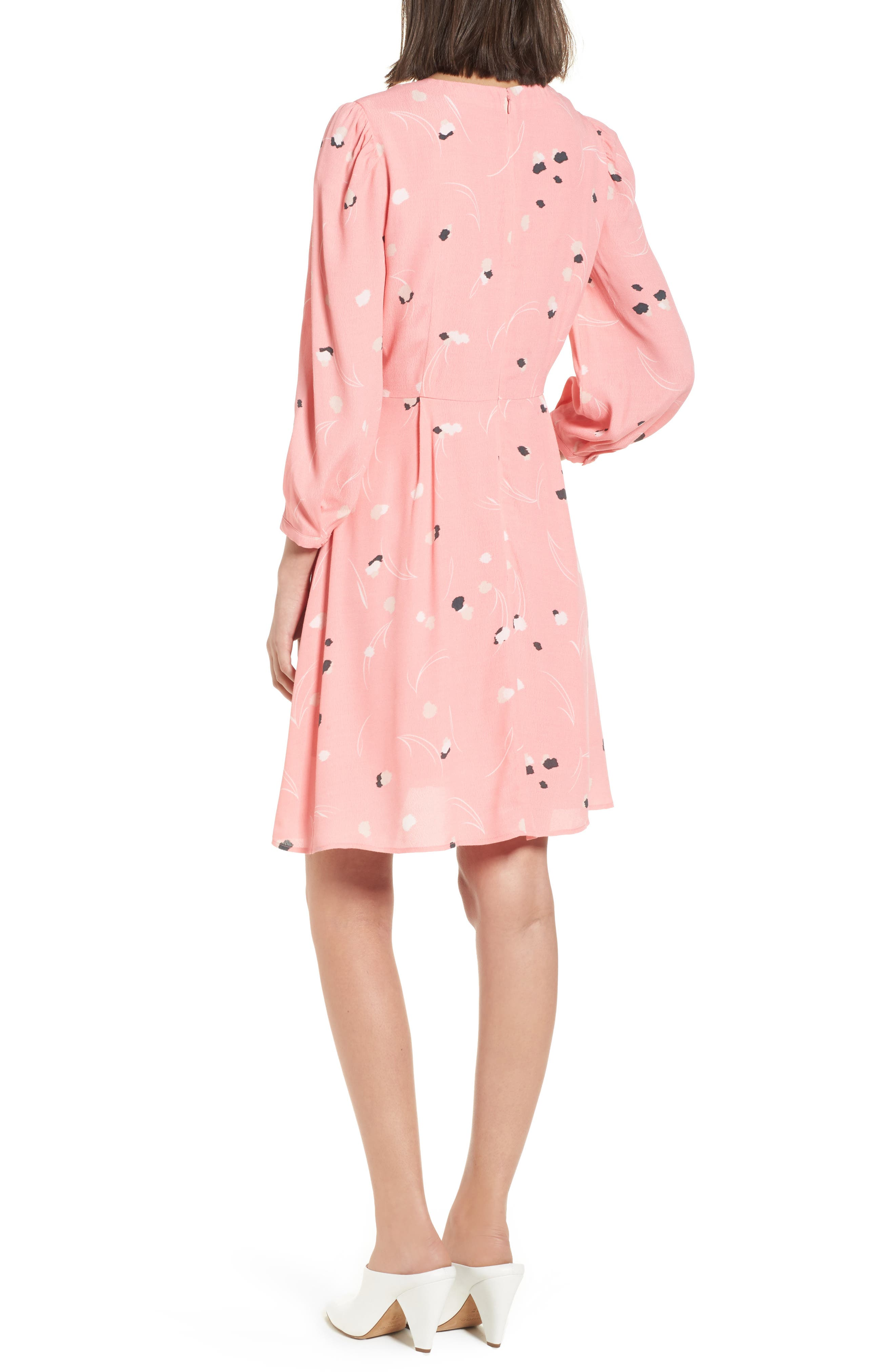 V-Neck Puff Sleeve Dress,                             Alternate thumbnail 2, color,                             Pink Flamingo Mini Pops