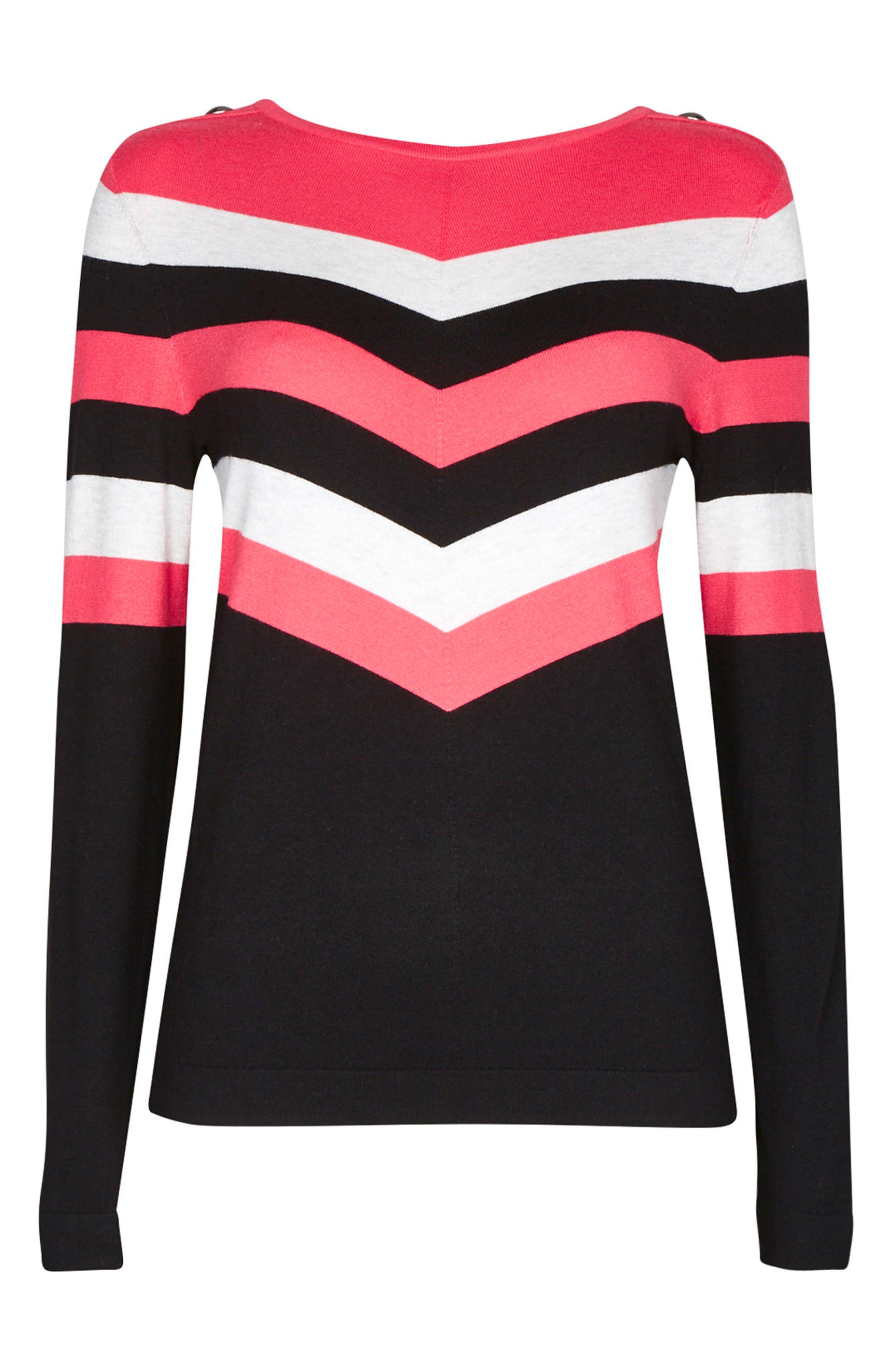Chevron Stripe Sweater,                         Main,                         color, Pink