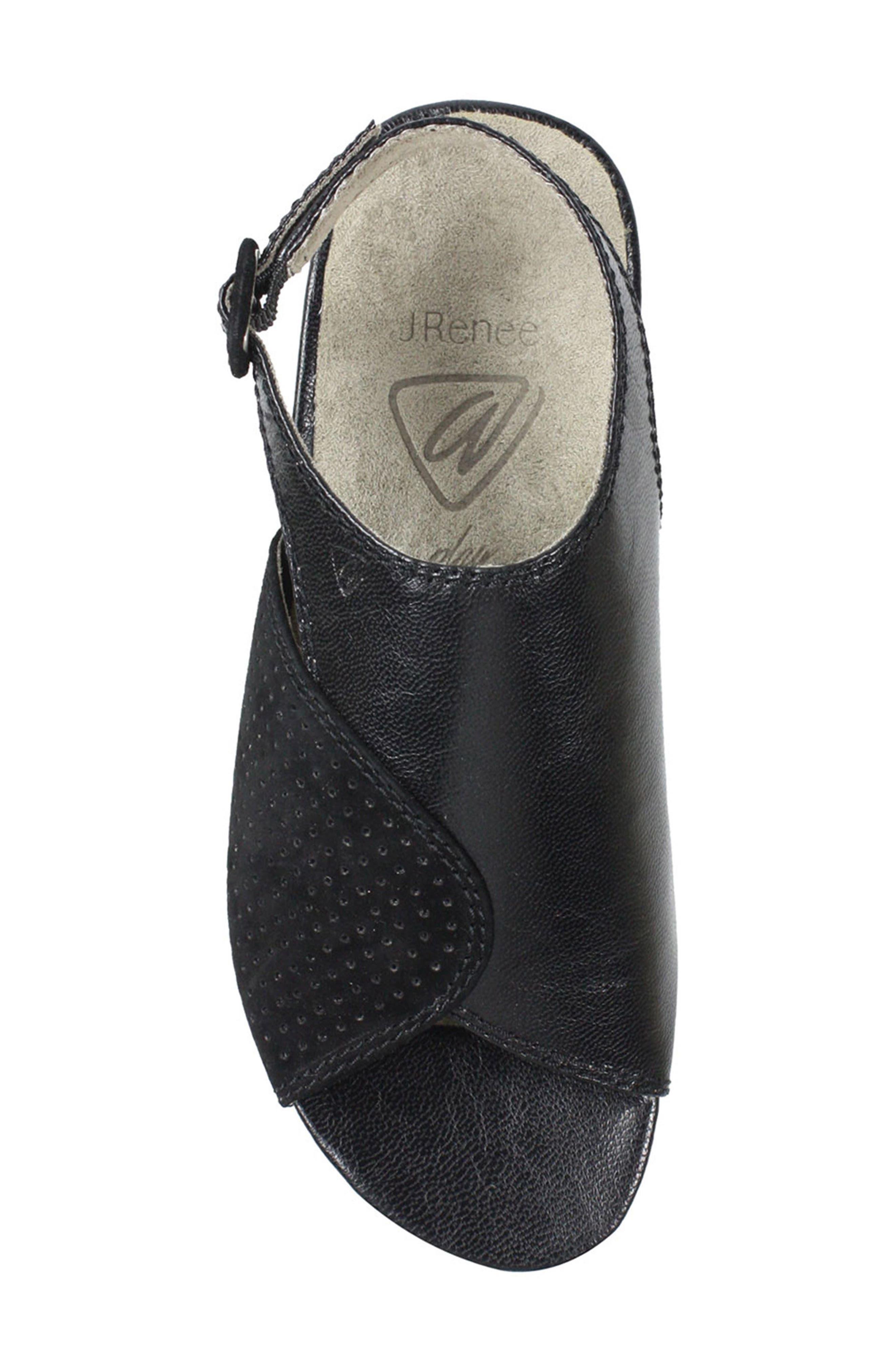 Dalenna Ankle Strap Sandal,                             Alternate thumbnail 5, color,                             Black Leather