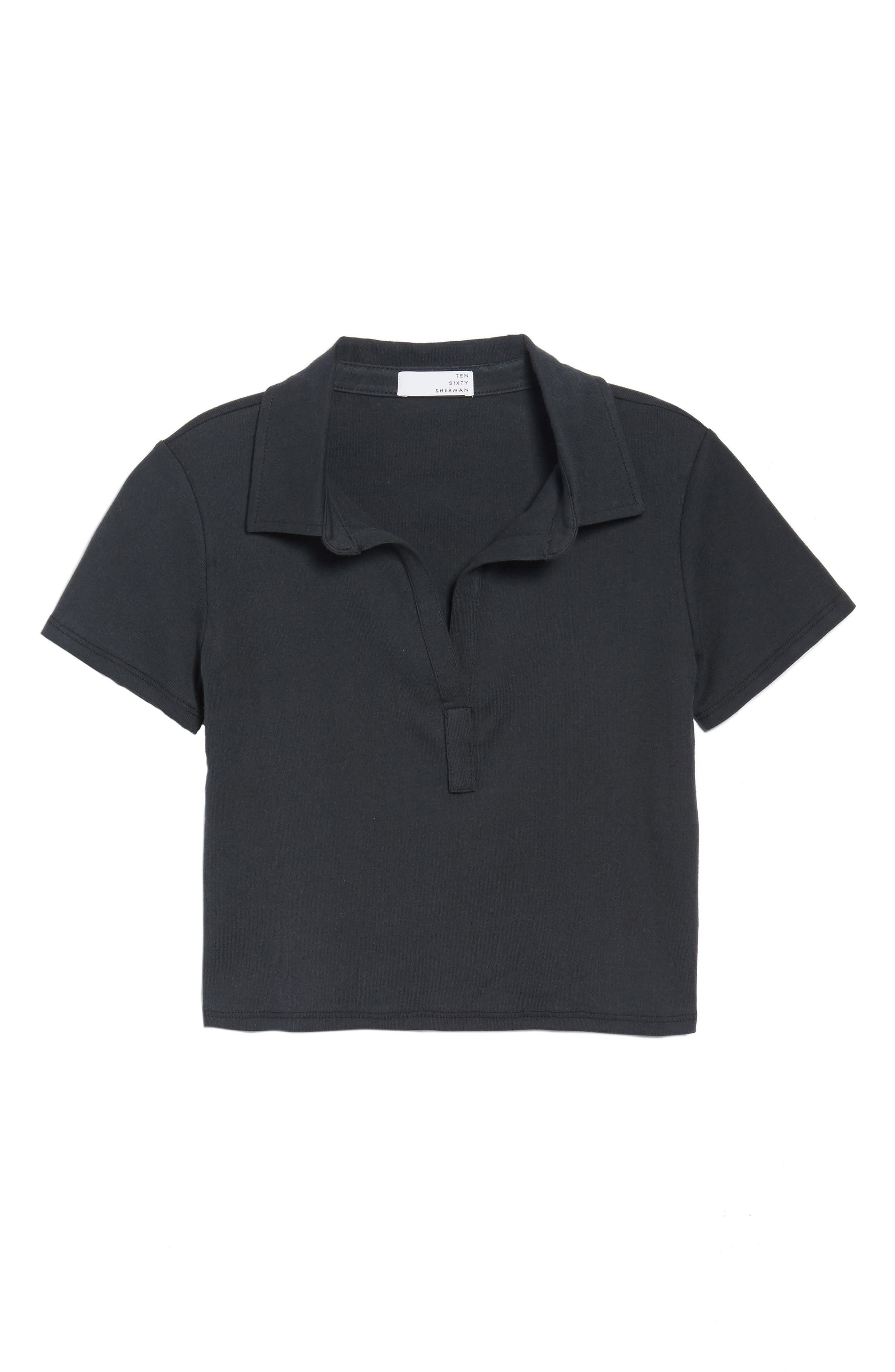 Crop Polo,                             Alternate thumbnail 6, color,                             Black Onyx
