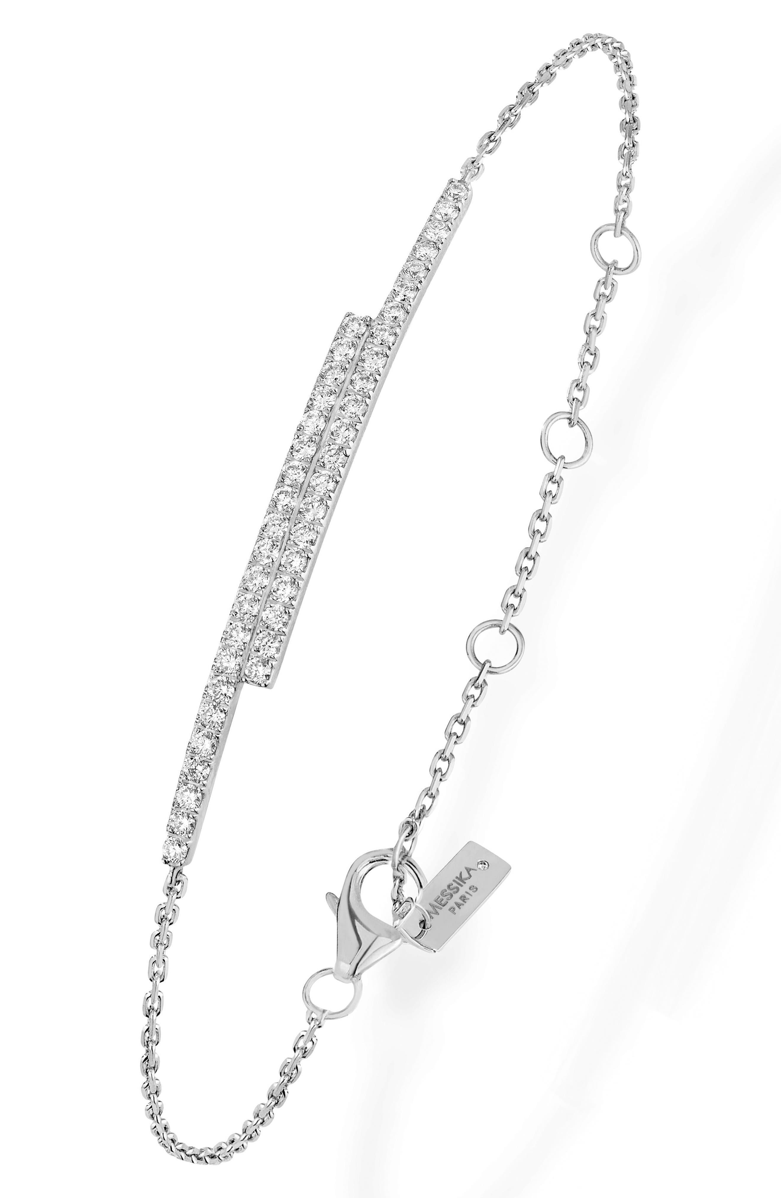 Double Bar Diamond Line Bracelet,                             Alternate thumbnail 2, color,                             White Gold