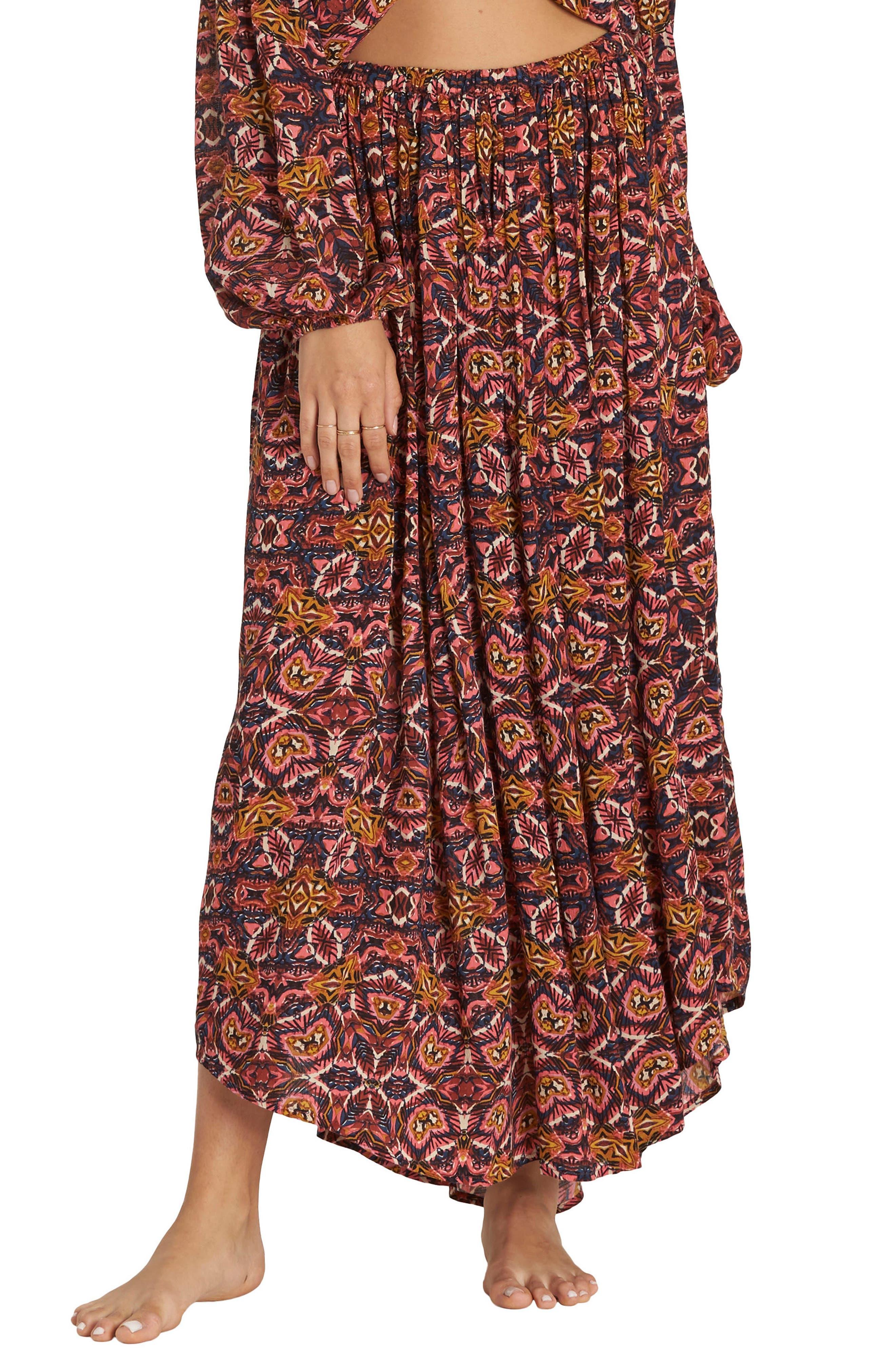 Alternate Image 1 Selected - Billabong Sun Safari Asymmetrical Maxi Skirt