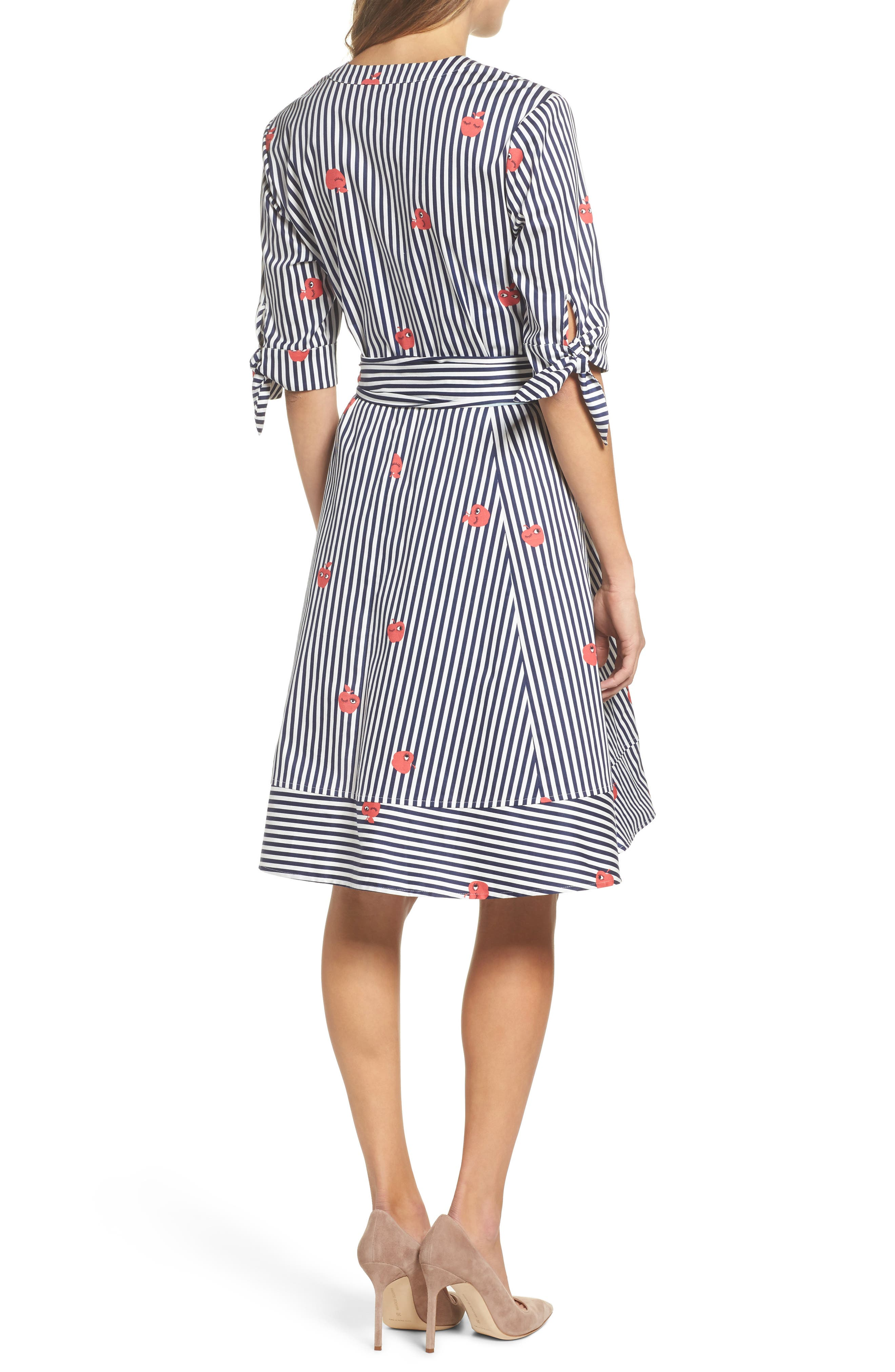 Bella Tie Front Fit & Flare Shirtdress,                             Alternate thumbnail 2, color,                             Navy/ White Stripe