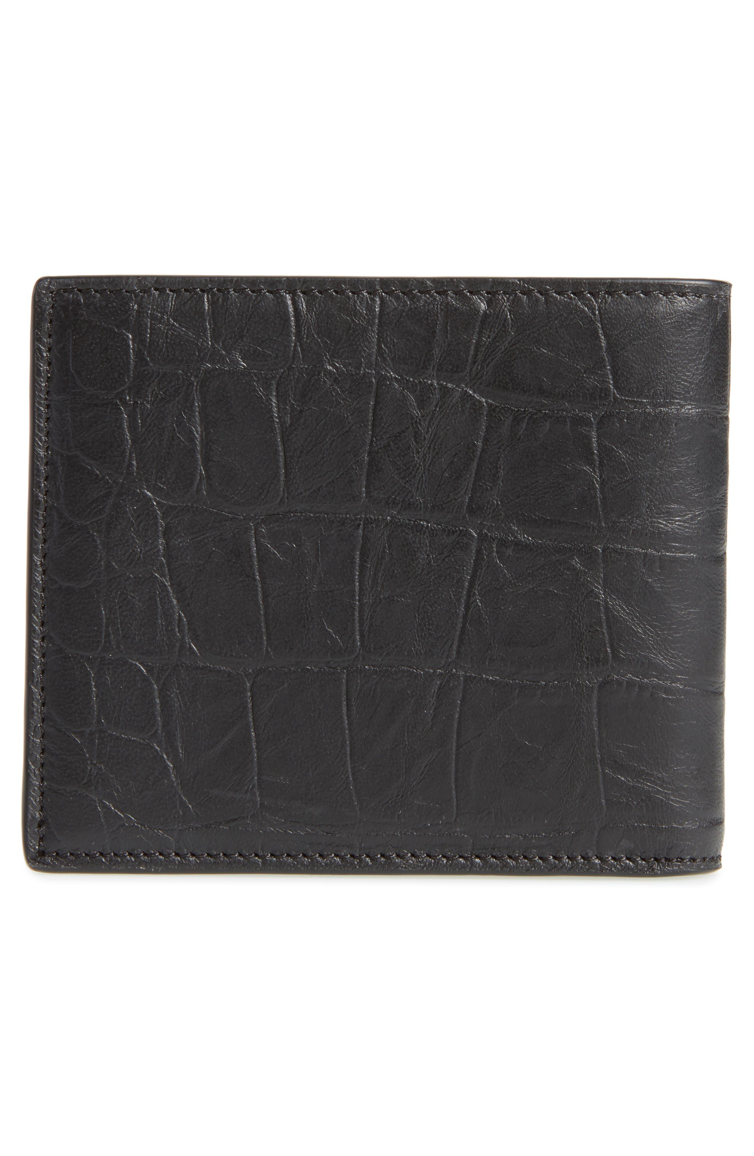 Croc Embossed Leather Wallet,                             Alternate thumbnail 3, color,                             Black