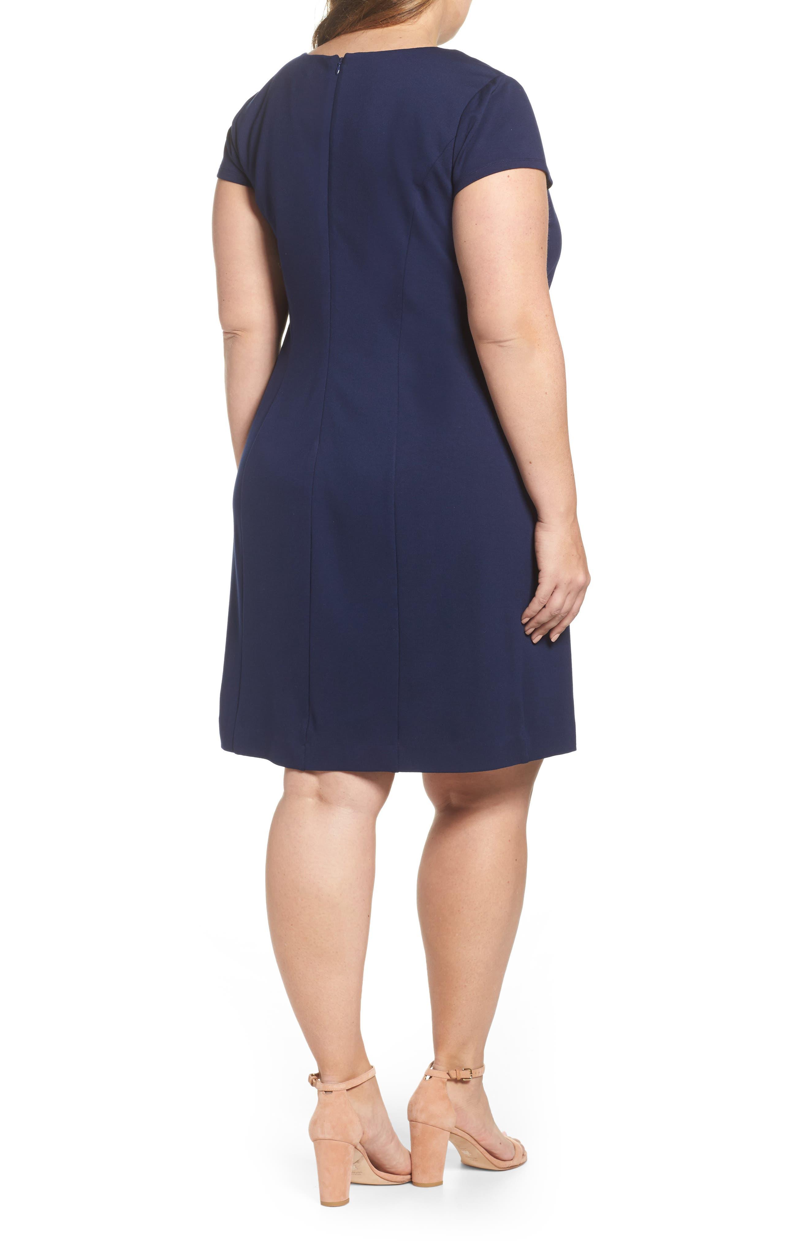 Alternate Image 2  - Eliza J Embroidered Ponte Sheath Dress (Plus Size)