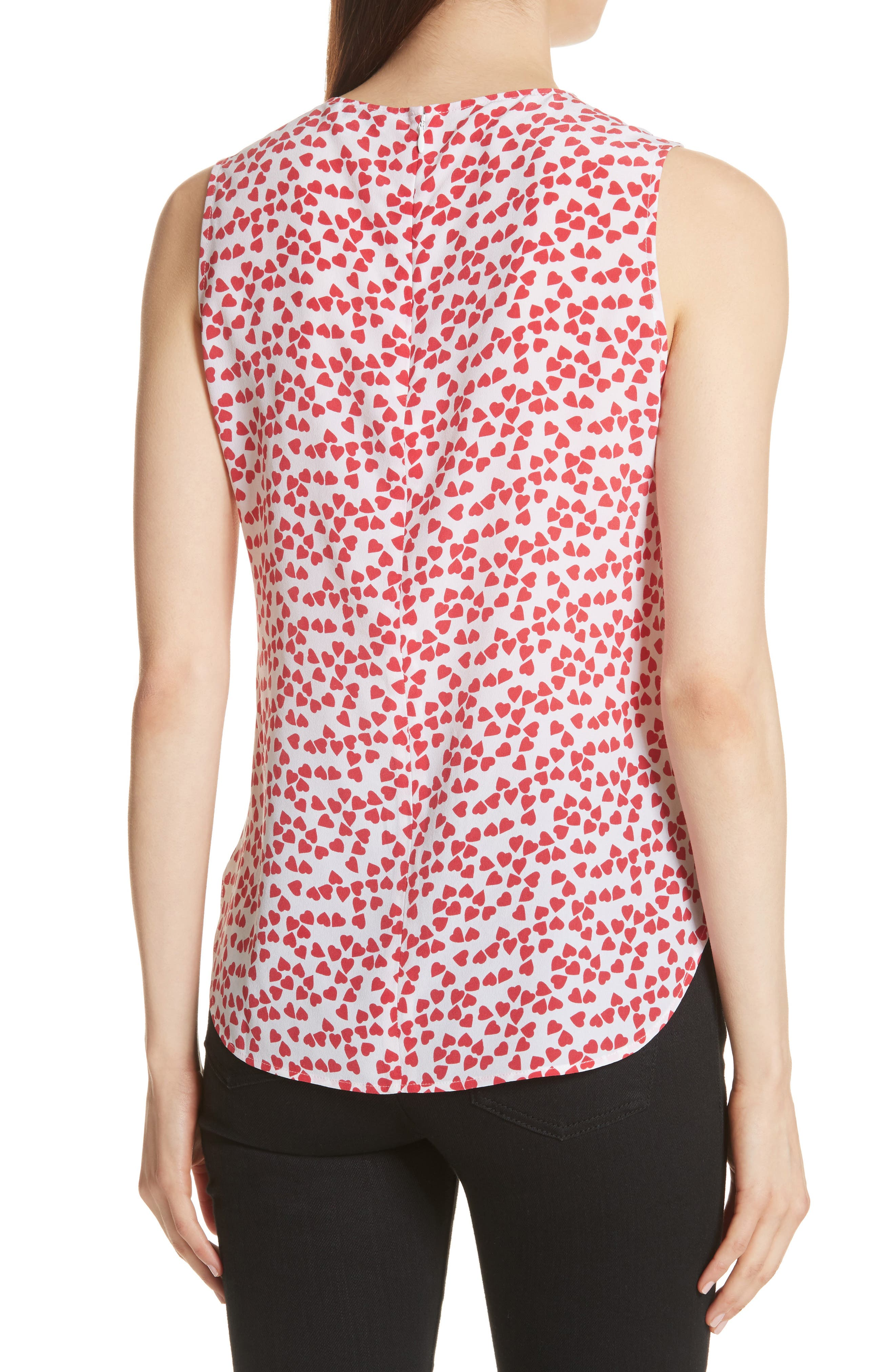 Lyle Print Silk Sleeveless Top,                             Alternate thumbnail 2, color,                             Bright White-Charged Pink