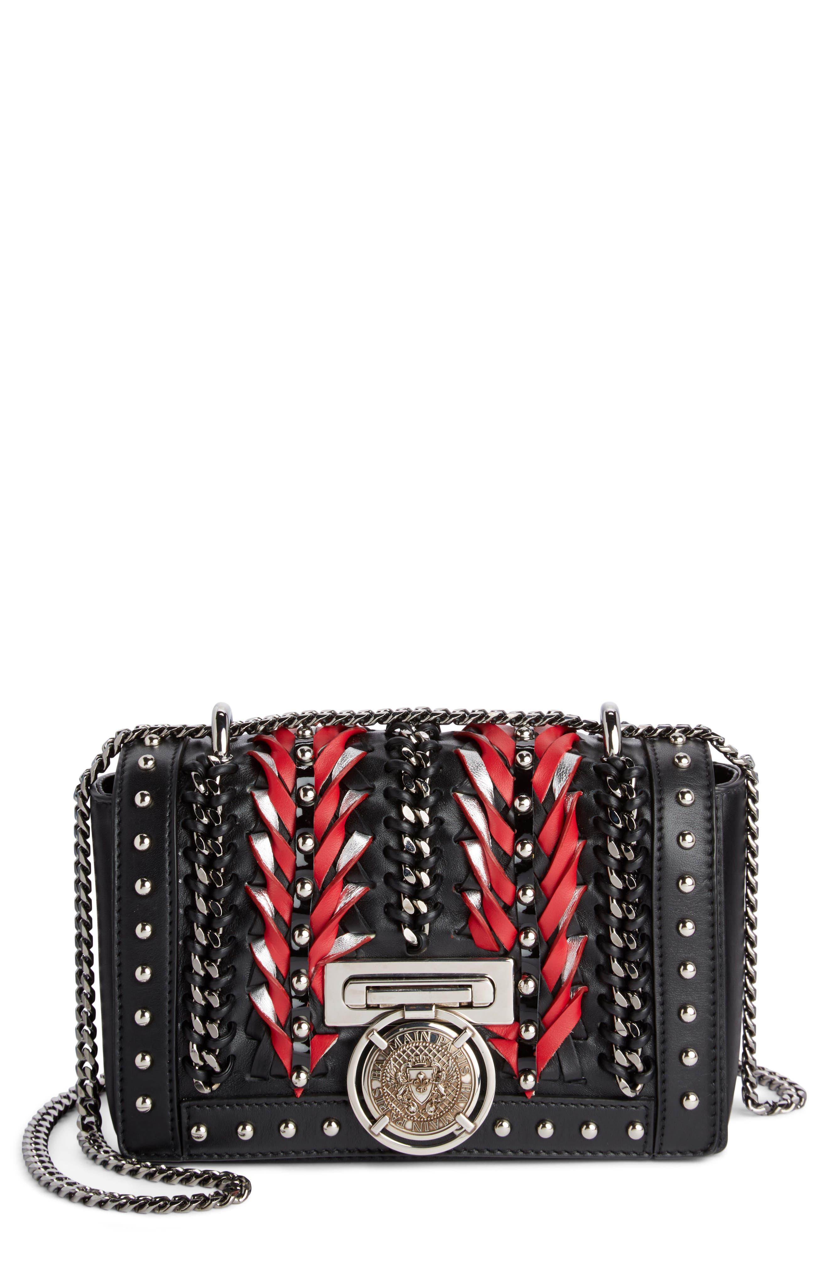 Baby Box Woven Leather Shoulder Bag,                             Main thumbnail 1, color,                             Noir/ Rouge/ Blanc