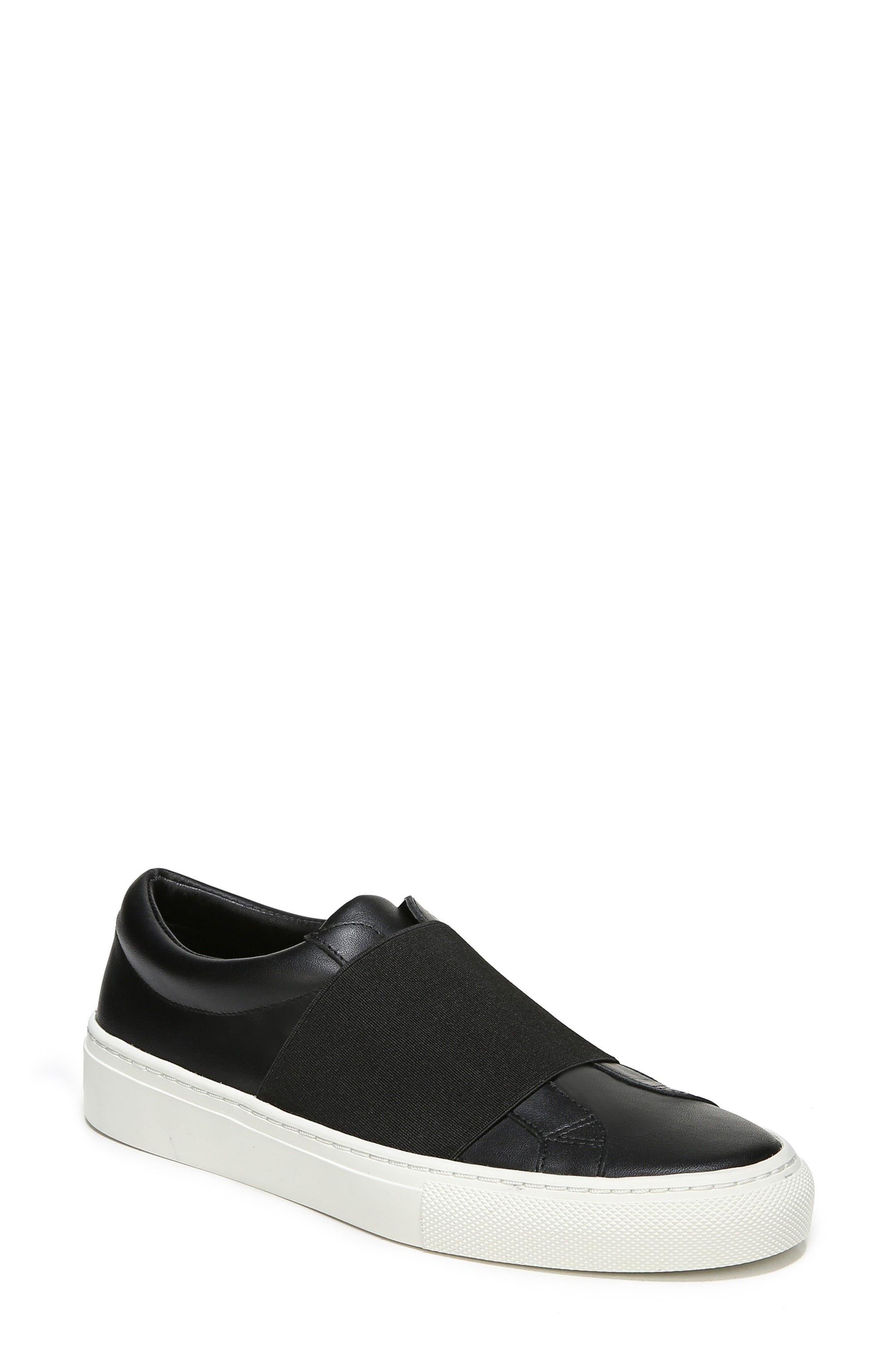 Saran Slip-On Sneaker,                             Main thumbnail 1, color,                             Black/ Black Leather
