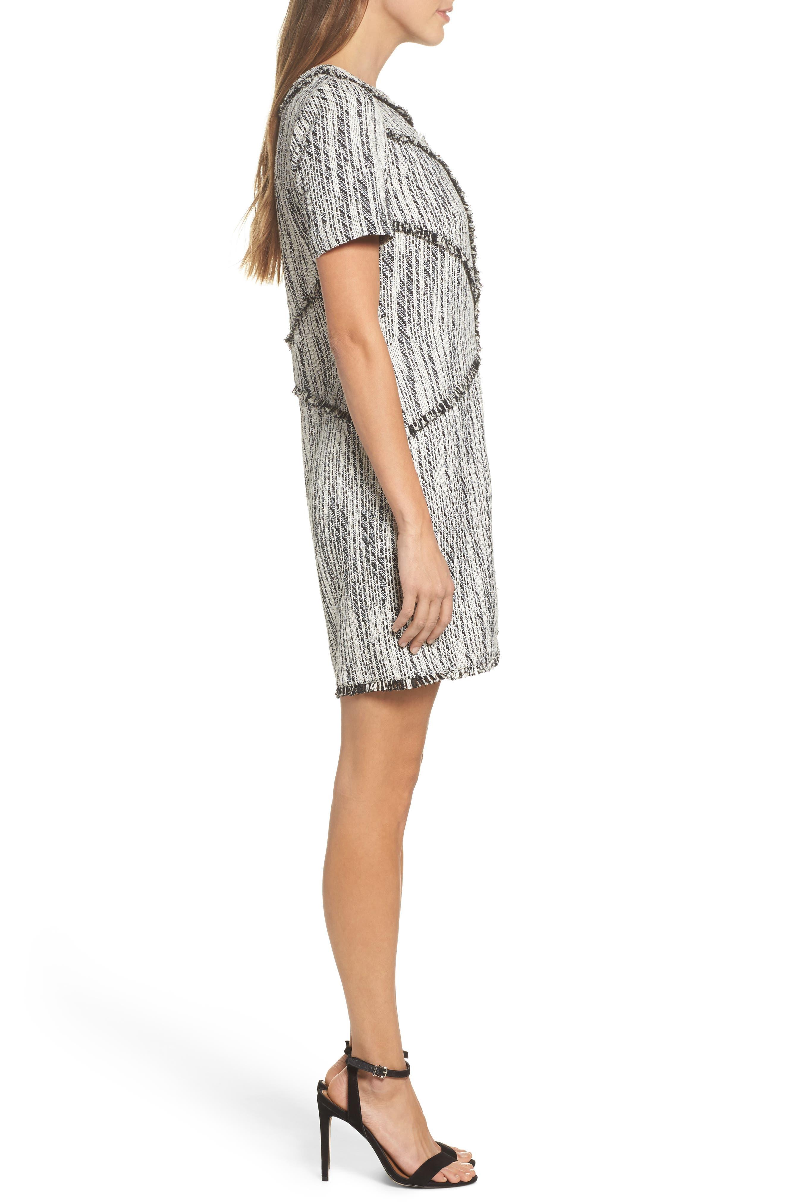 Dolce Vita Tweed Shift Dress,                             Alternate thumbnail 4, color,                             Black/ Ivory Tweed