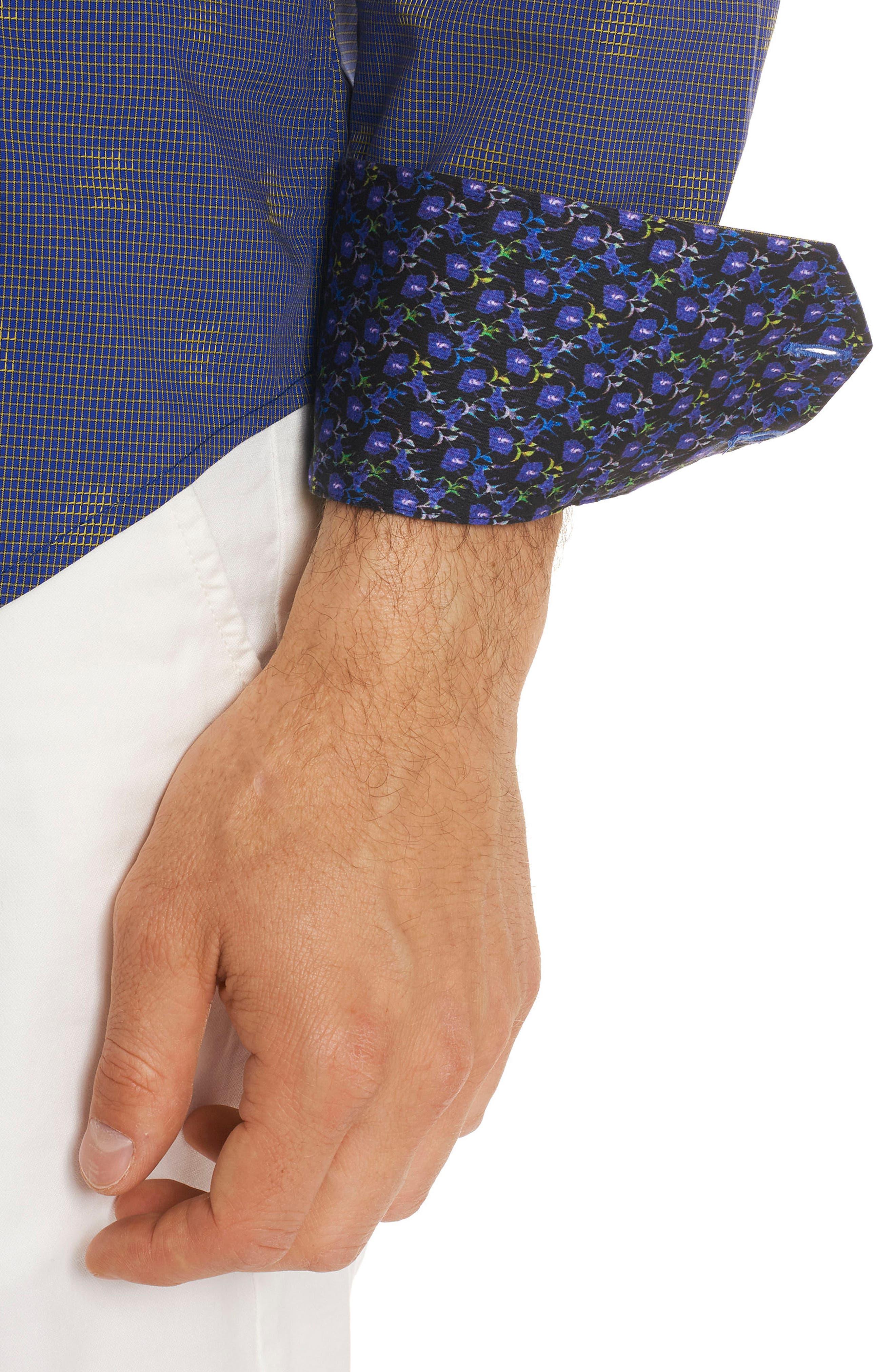 Vidin Regular Fit Jacquard Dot Sport Shirt,                             Alternate thumbnail 5, color,                             Blue