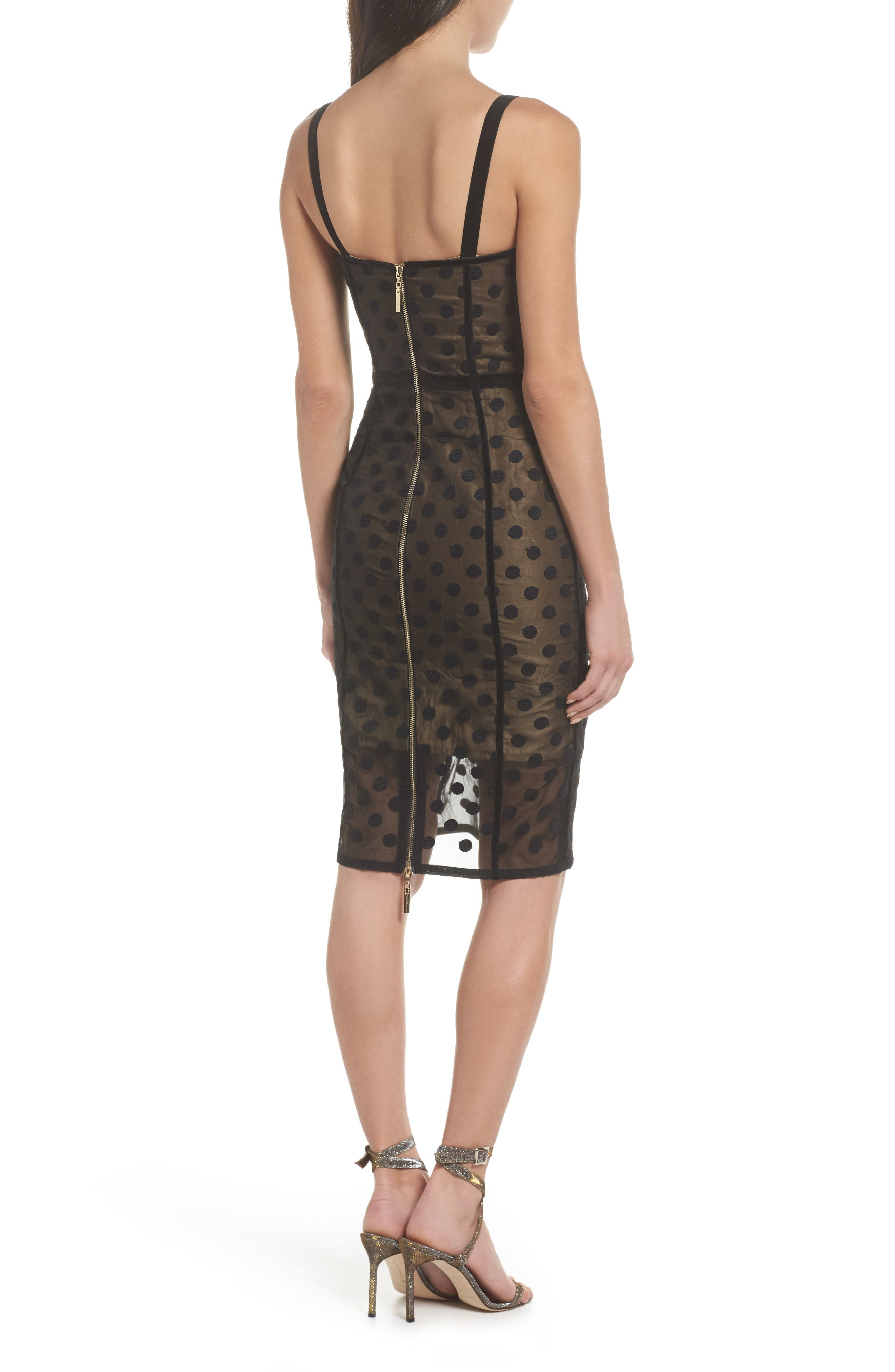 Isabella Noir Dot Embroidered Body-Con Dress,                             Alternate thumbnail 5, color,                             Black/ Nude