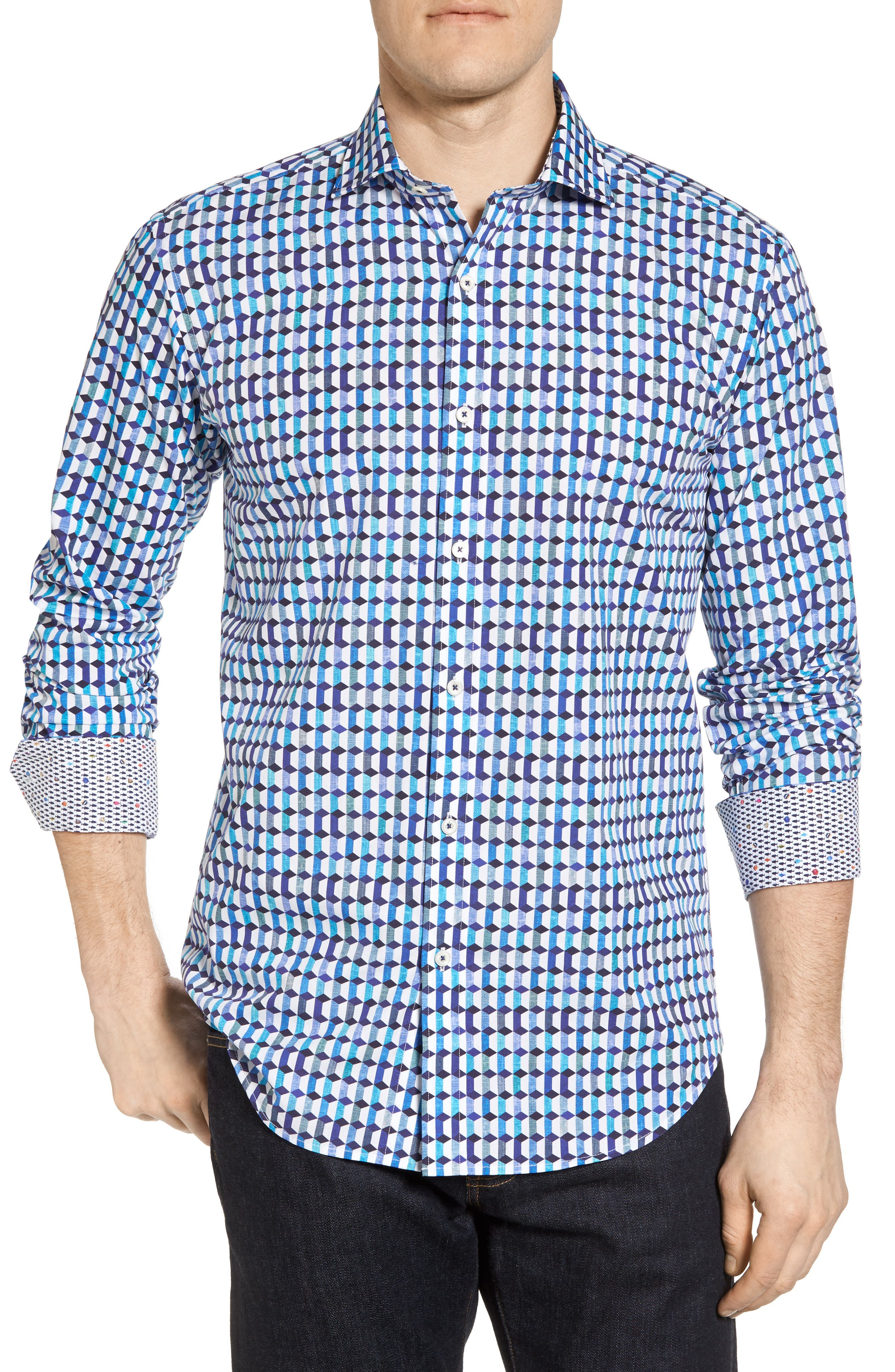 Shaped Fit Geo Print Sport Shirt,                             Main thumbnail 1, color,                             Turquoise