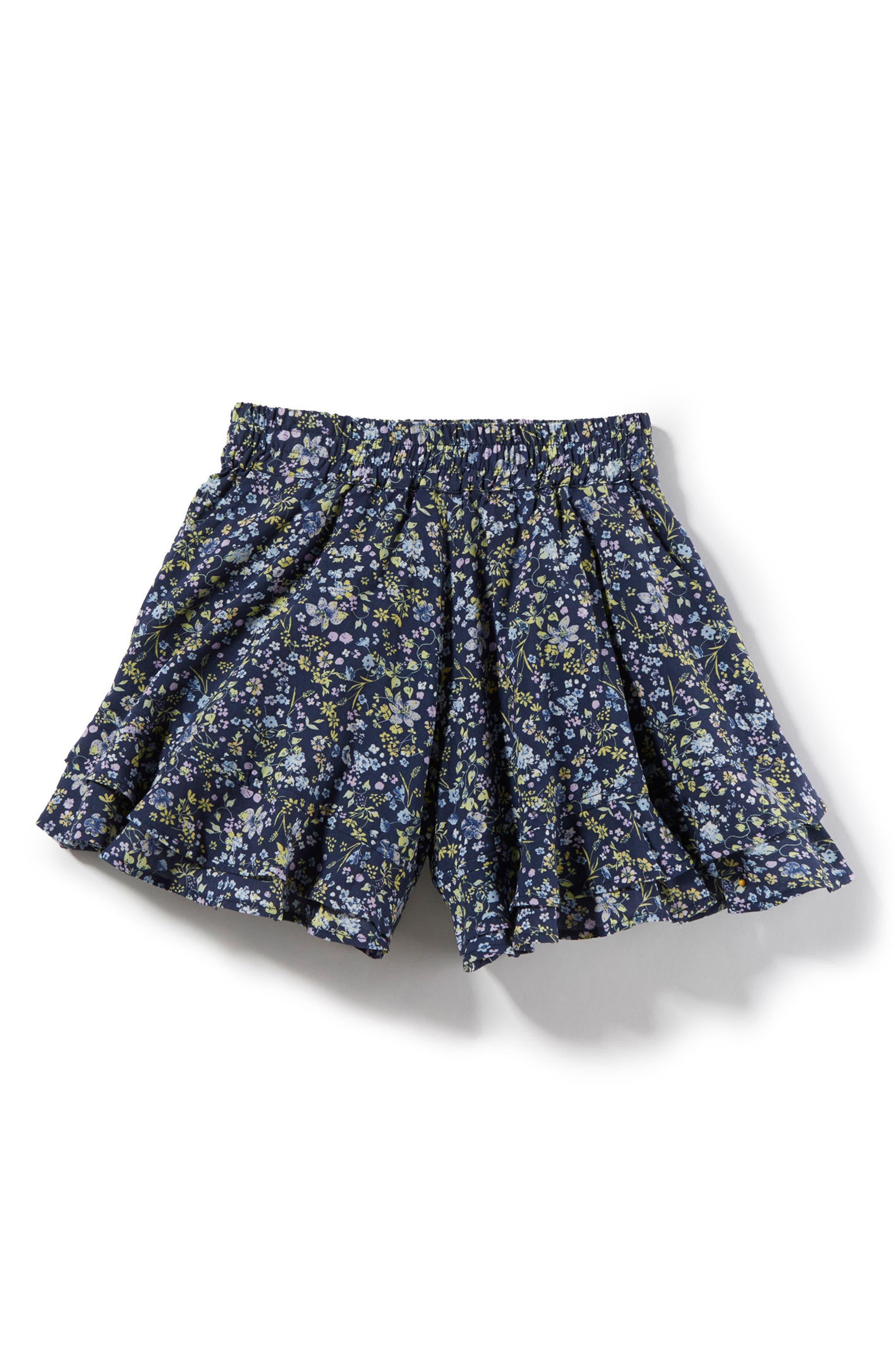 Paige Ruffle Shorts,                         Main,                         color, Blue