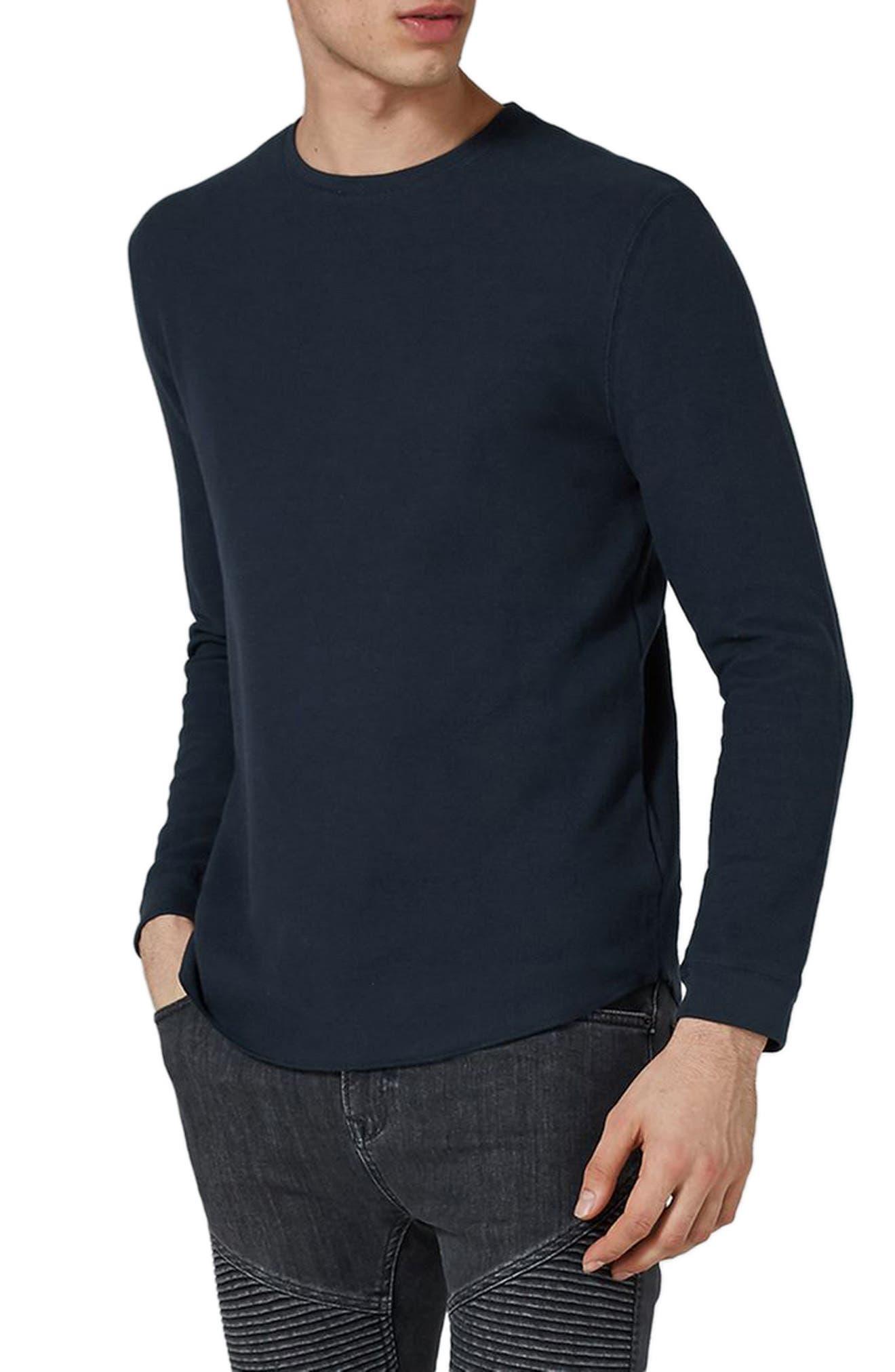 Waffle Knit Long Sleeve T-Shirt,                             Main thumbnail 1, color,                             Dark Blue