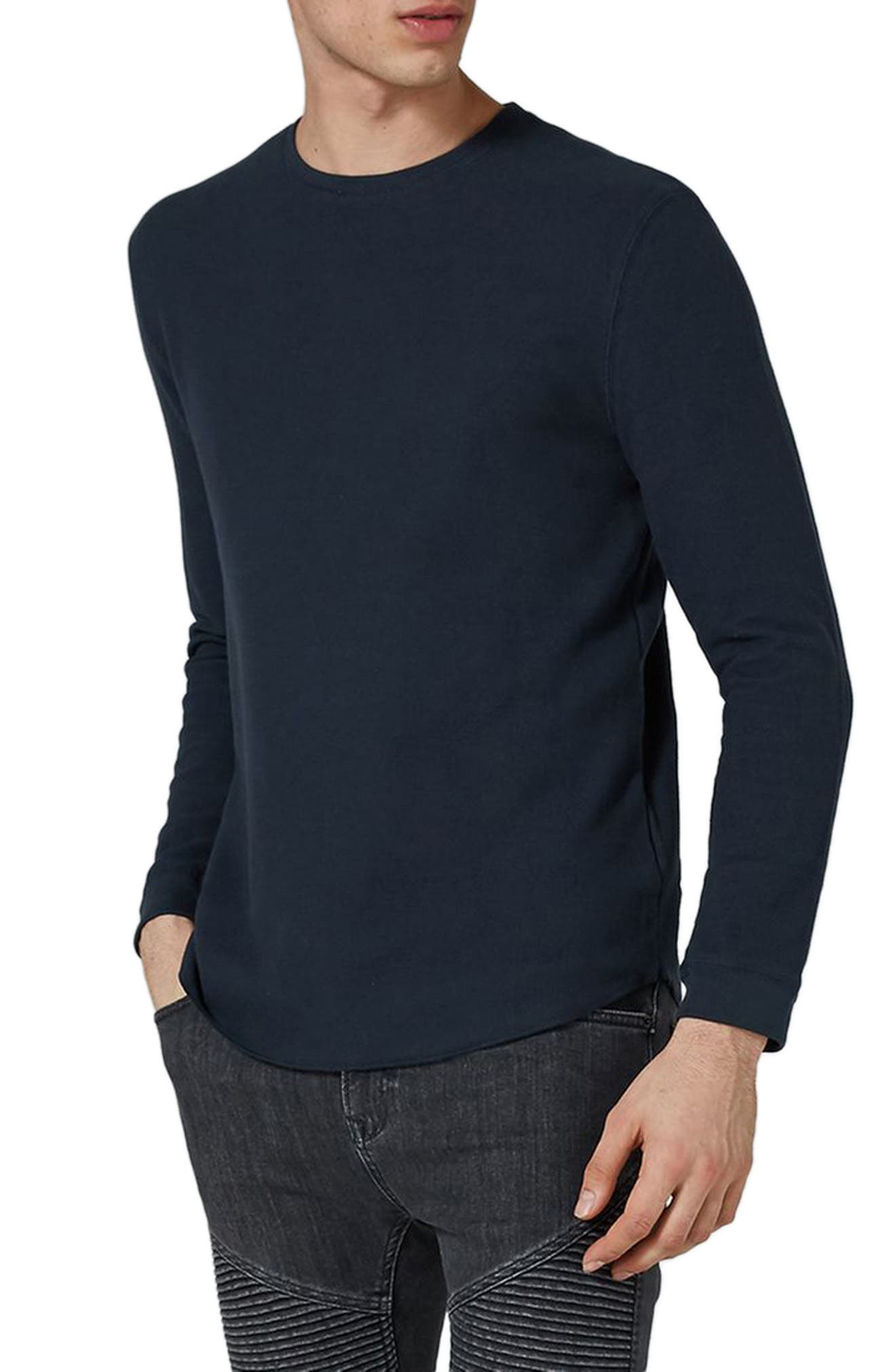 Waffle Knit Long Sleeve T-Shirt,                         Main,                         color, Dark Blue