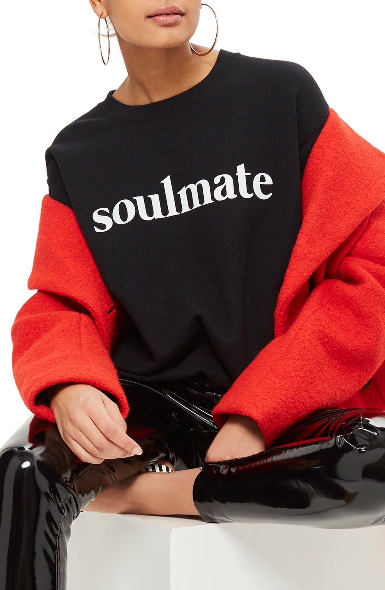 Soulmate Graphic Sweatshirt,                             Alternate thumbnail 4, color,                             Black Multi