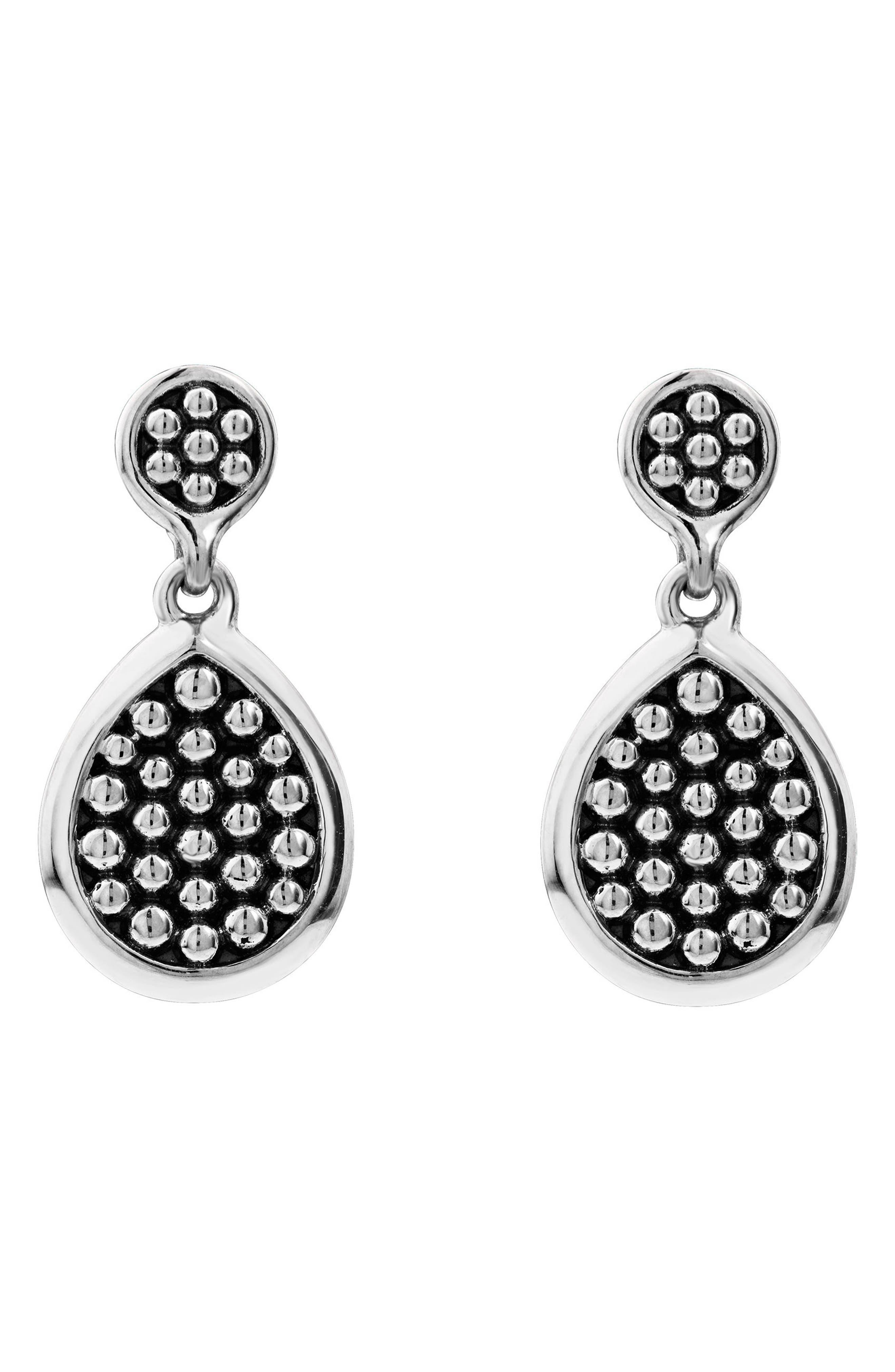 Signature Caviar Flat Drop Earrings,                             Alternate thumbnail 2, color,                             Silver