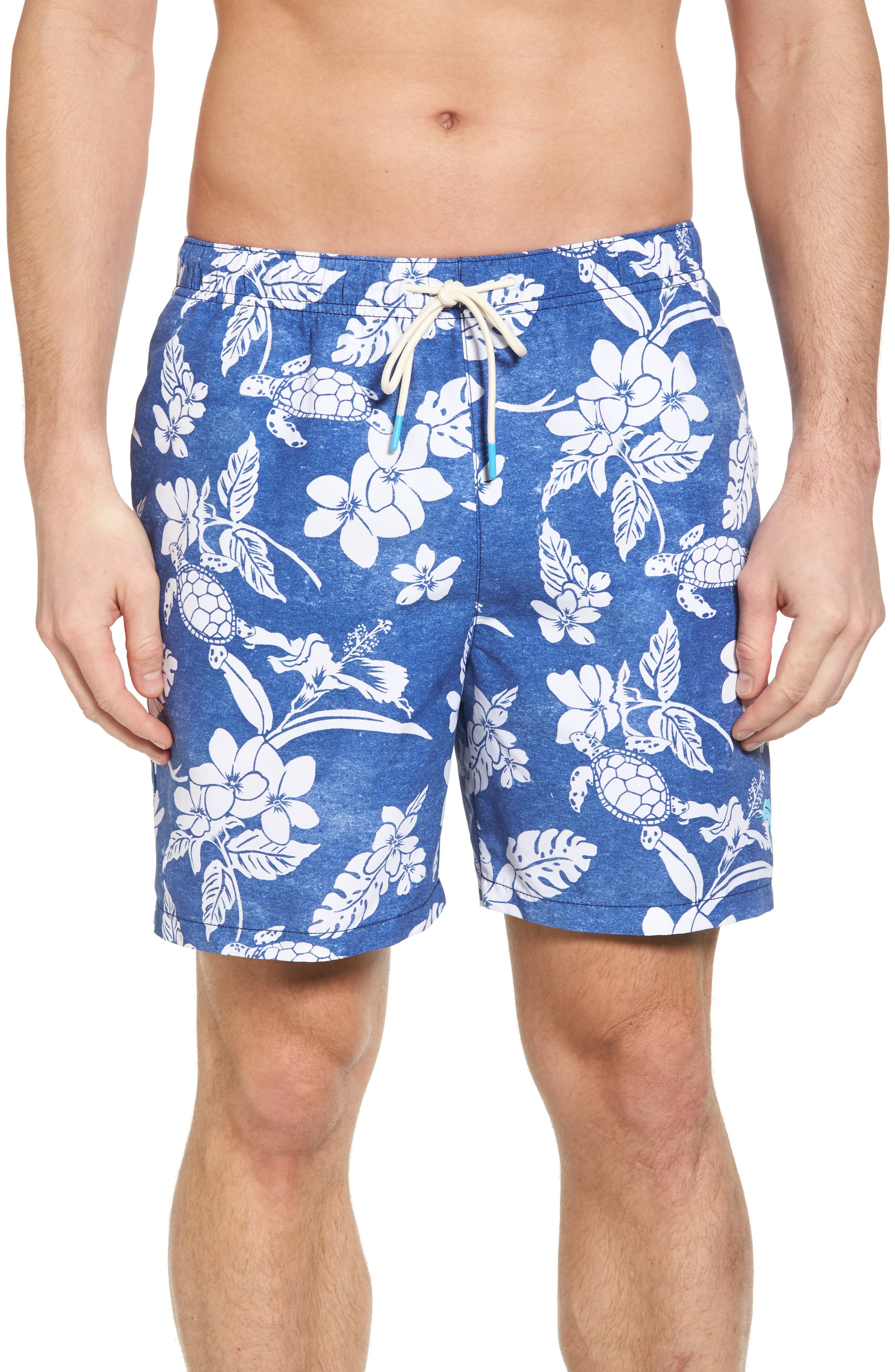 Naples Turtle Beach Swim Trunks,                         Main,                         color, Kingdom Blue