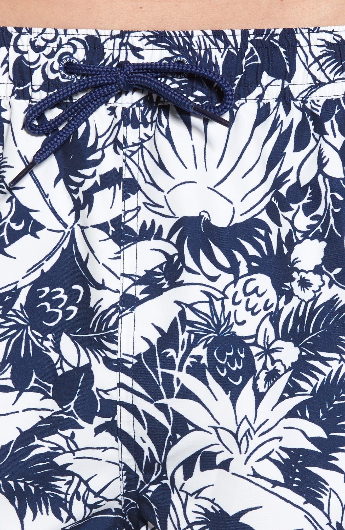 Chappy Pineapple in Palms Swim Trunks,                             Alternate thumbnail 4, color,                             Deep Bay