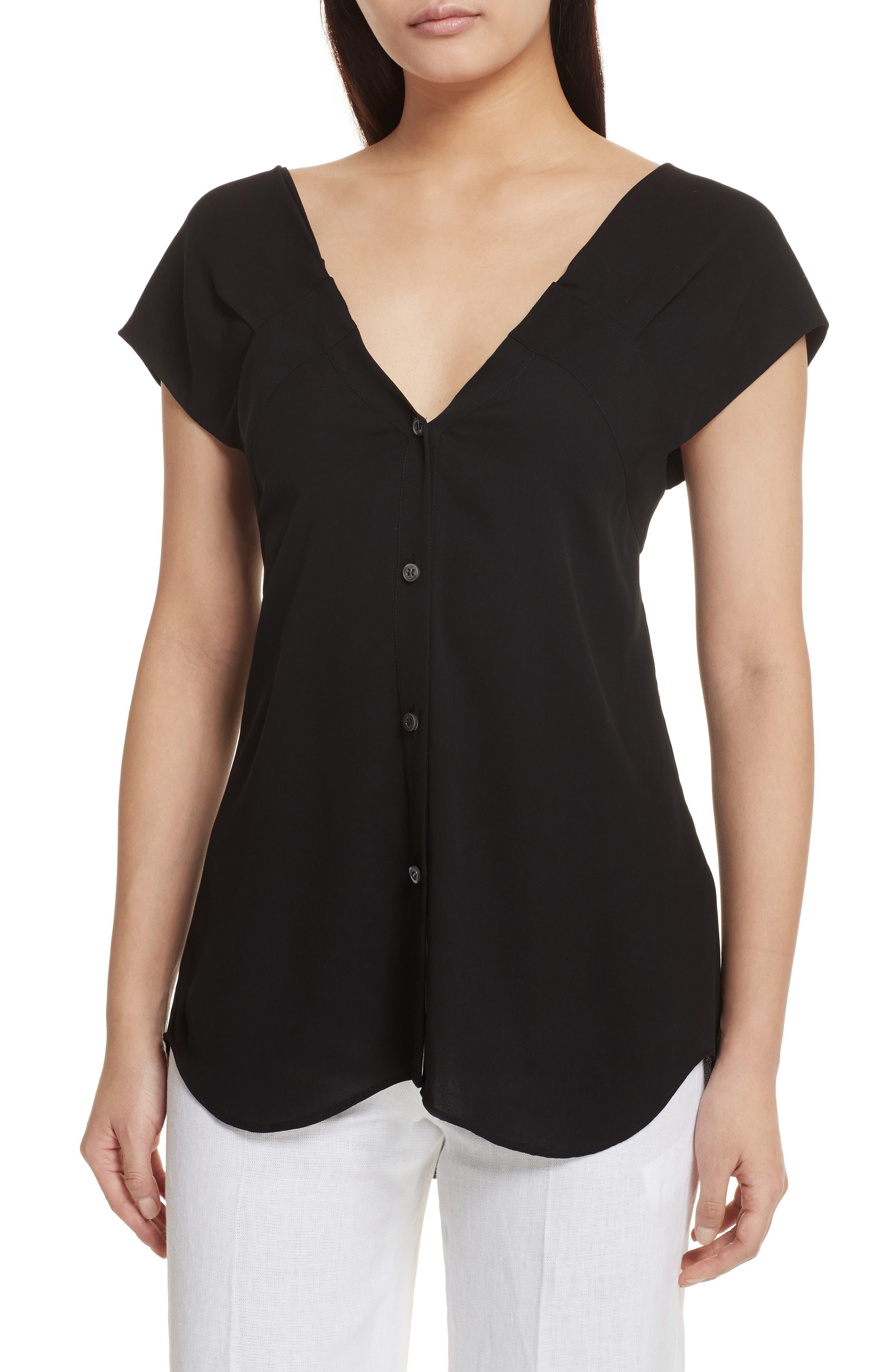 Convertible Neck Silk Georgette Top,                         Main,                         color, Black