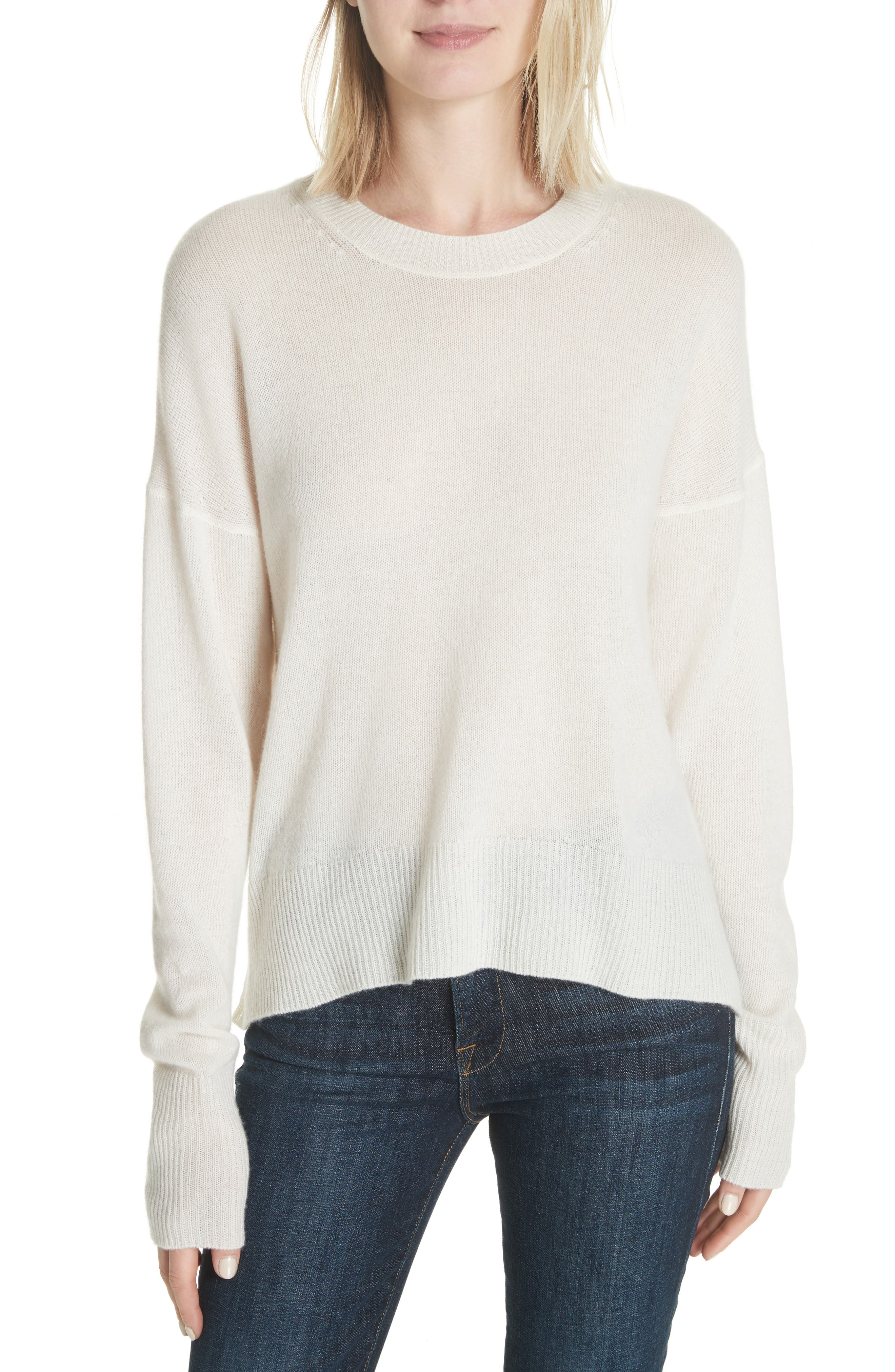 Karenia L Cashmere Sweater,                             Main thumbnail 1, color,                             Ivory