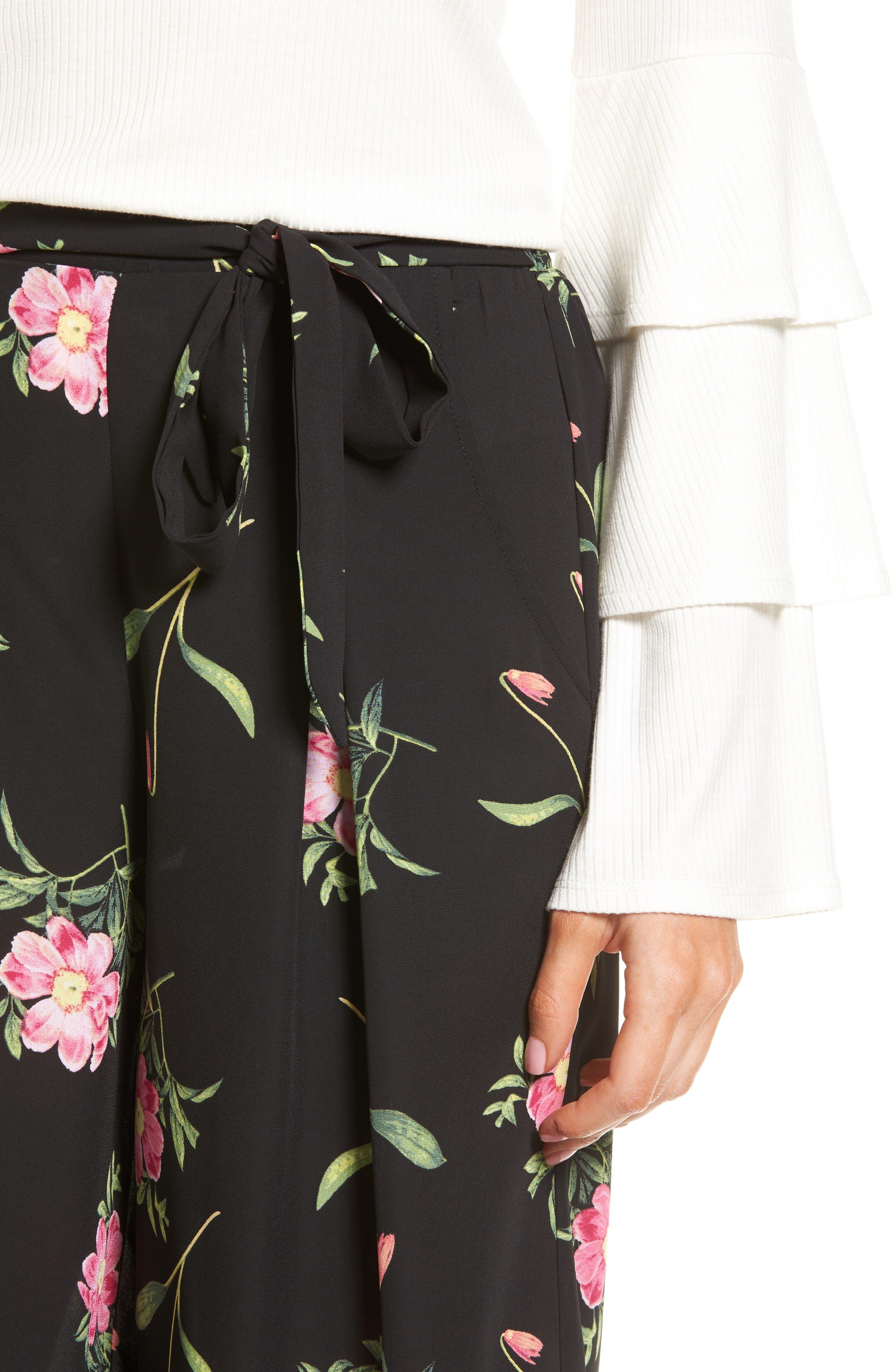 Floral Wide Leg Crop Pants,                             Alternate thumbnail 4, color,                             Black Floral
