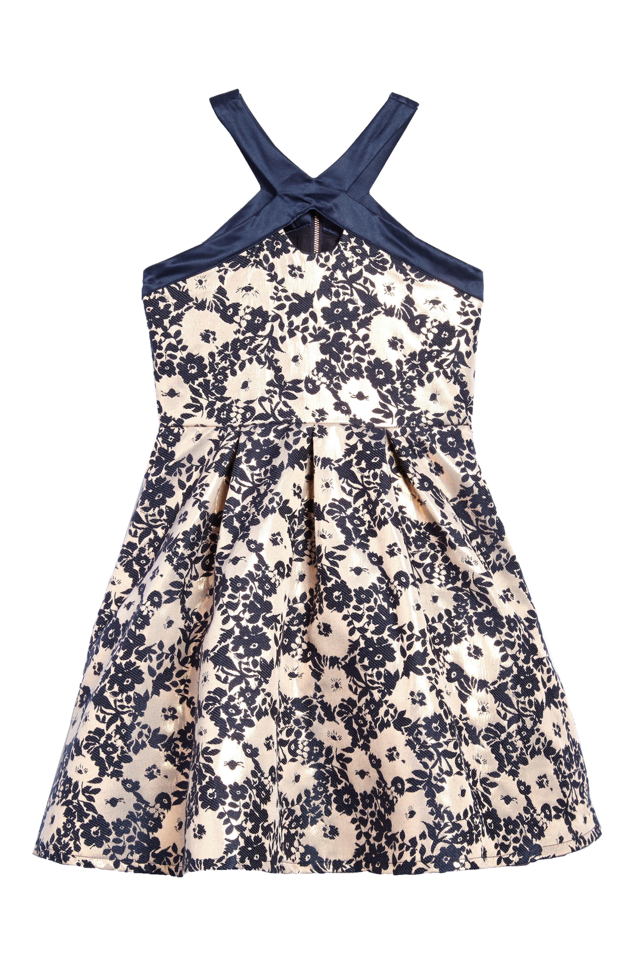 Floral Brocade Fit & Flare Dress,                         Main,                         color, Rose Gold