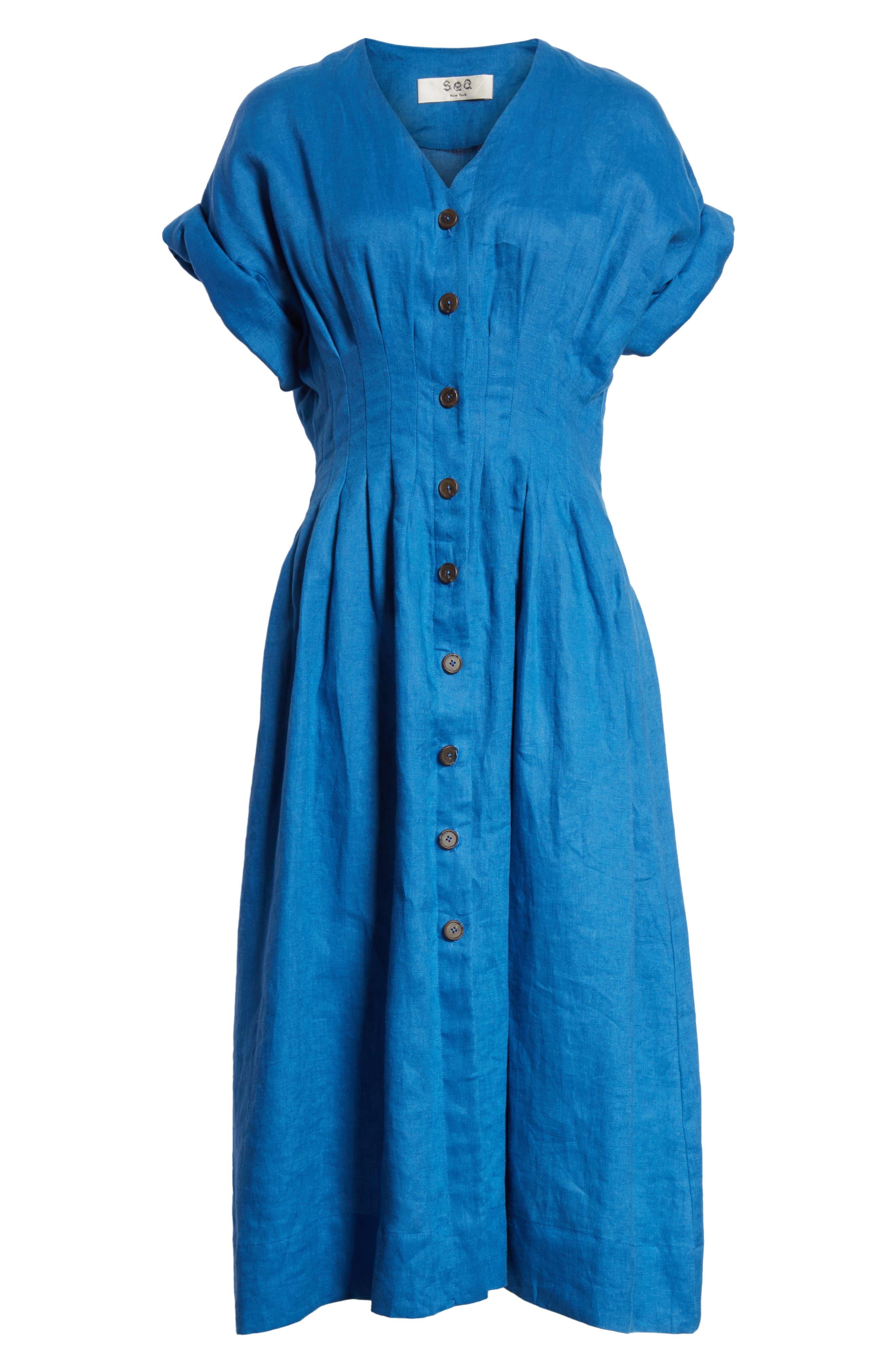 Coraline Pleated Button Front Linen Dress,                             Alternate thumbnail 6, color,                             Blue