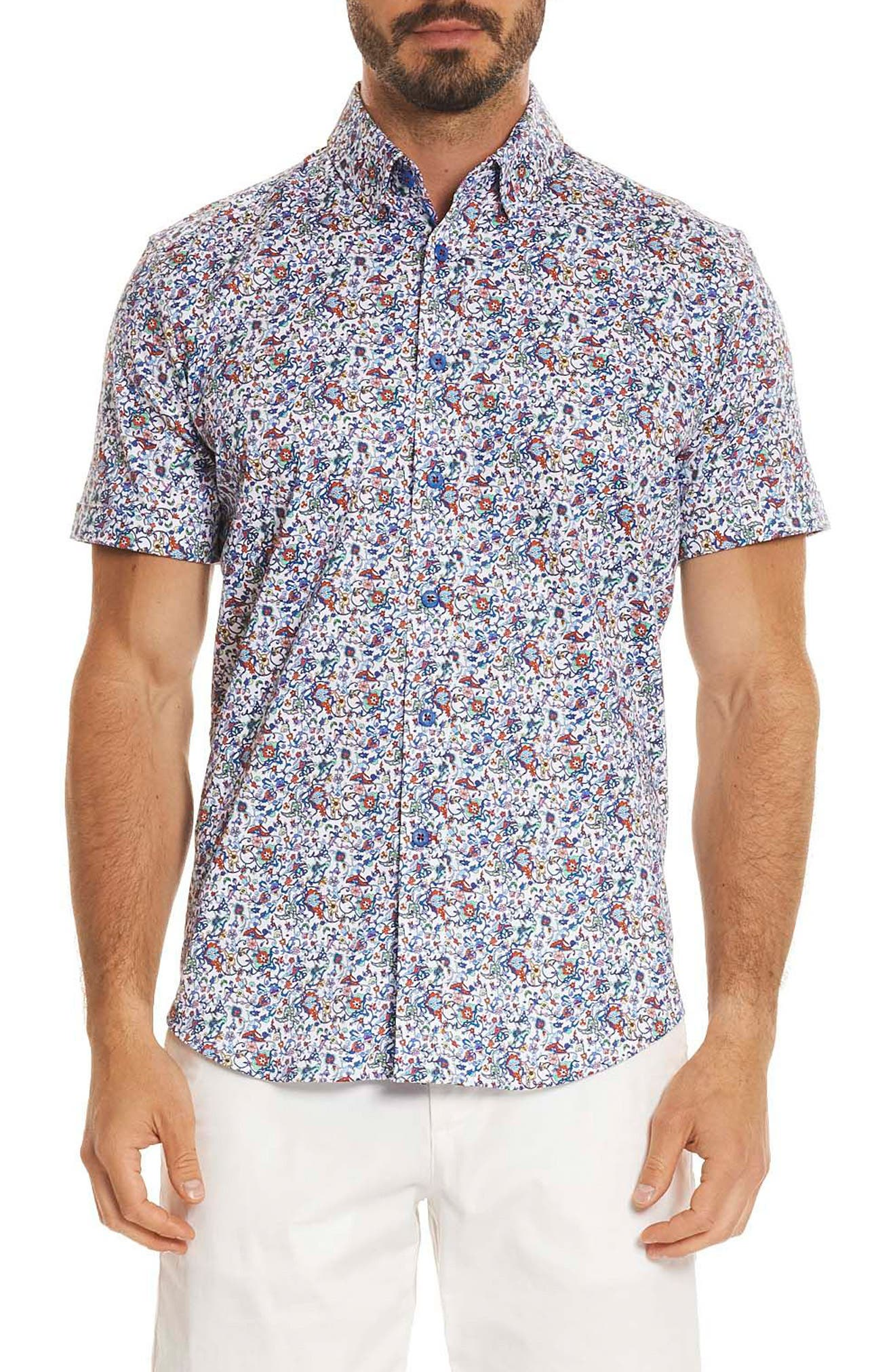Moses Tailored Fit Print Sport Shirt,                         Main,                         color, Multi