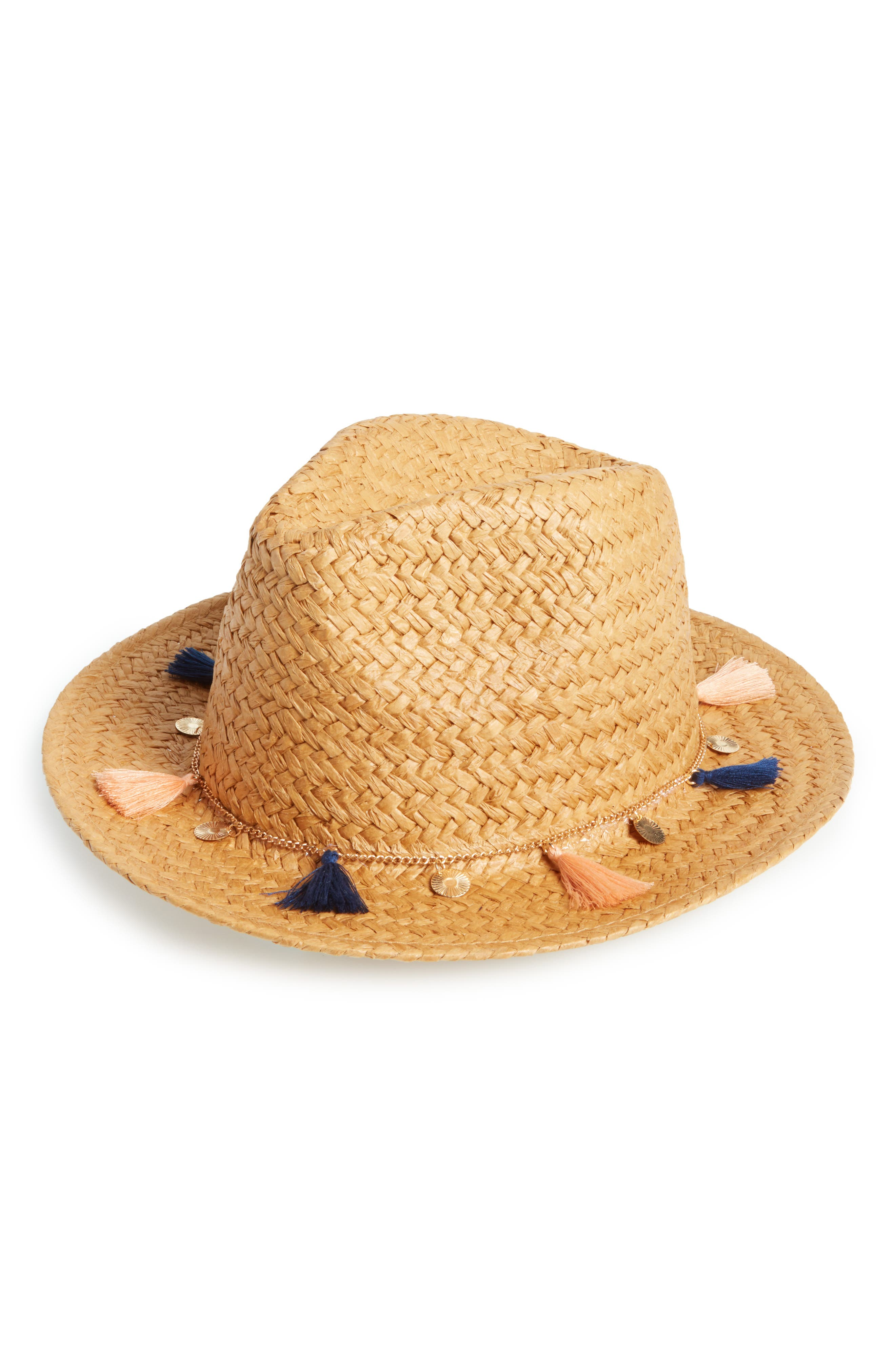 Tassel and Coins Straw Fedora,                         Main,                         color, Natural/ Multi