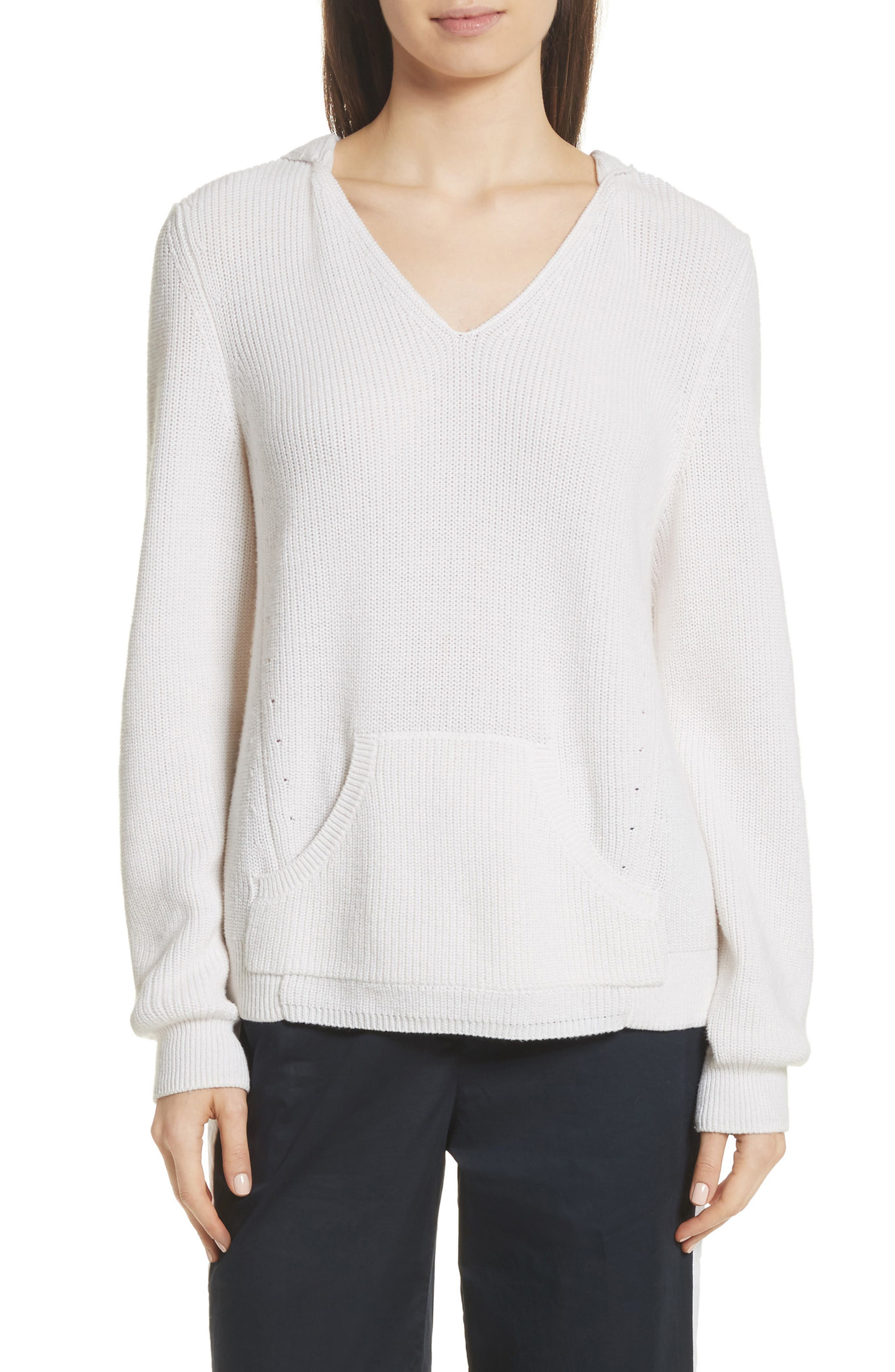 Octavia Hooded Sweater,                         Main,                         color, Ivory