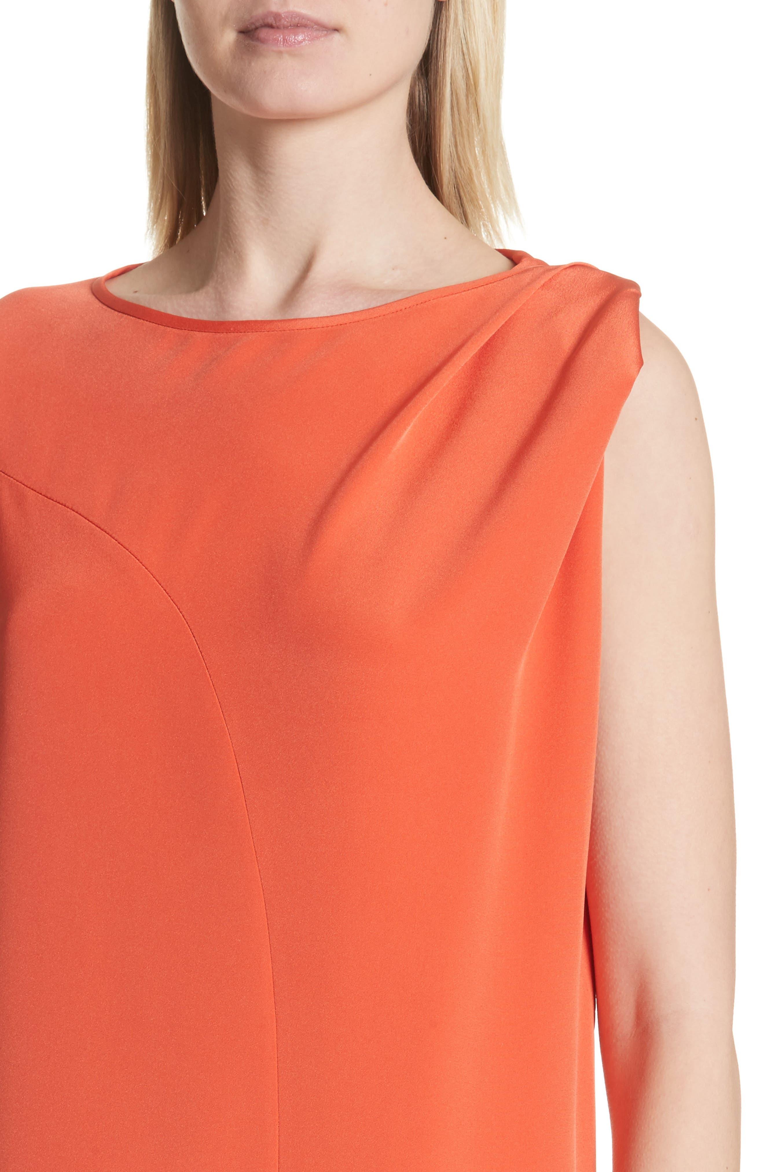 Twist Detail Silk Dress,                             Alternate thumbnail 4, color,                             Persimmon Orange