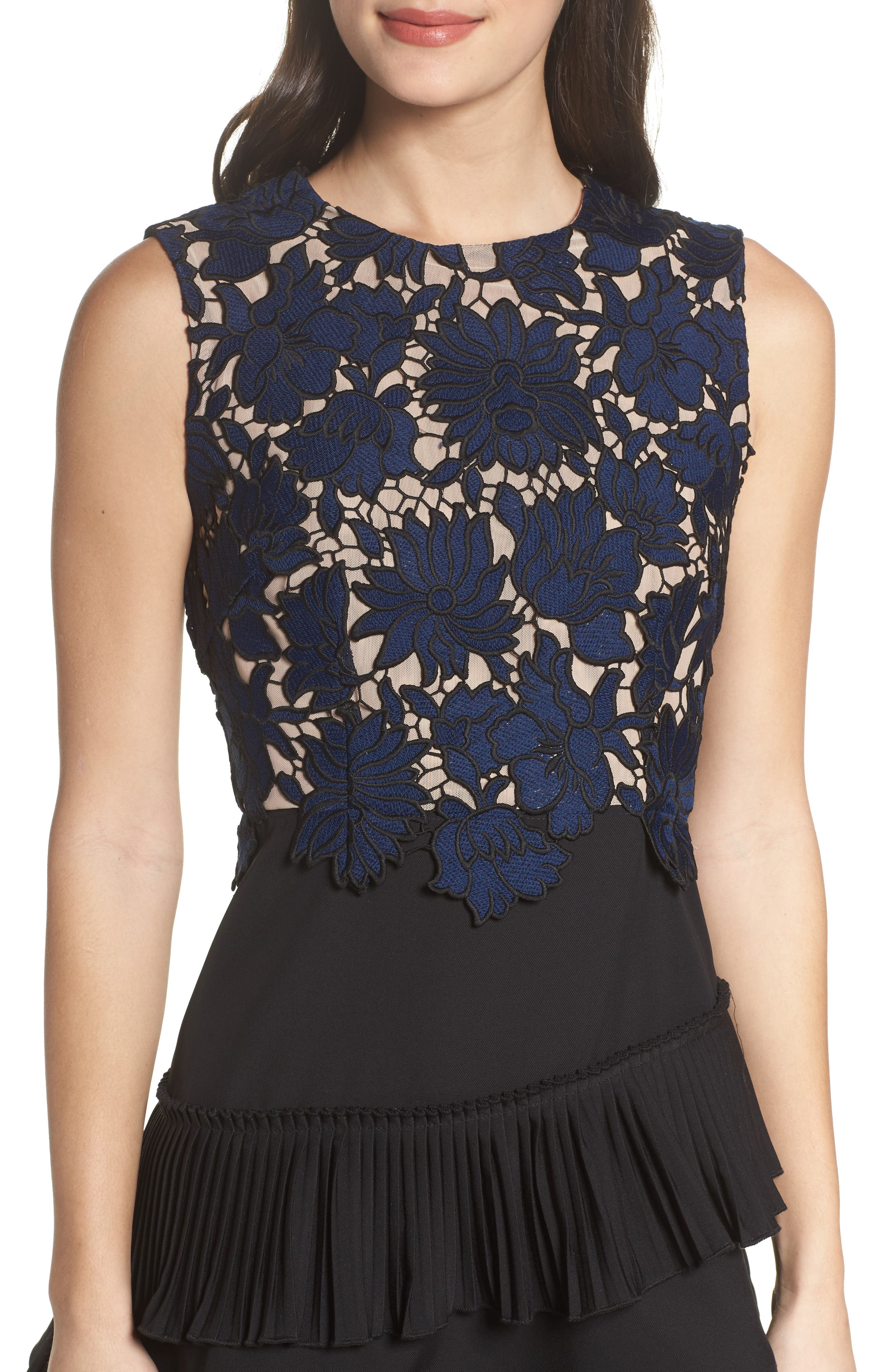 Alexa Lace & Ruffle Tier Dress,                             Alternate thumbnail 5, color,                             Black/ Navy