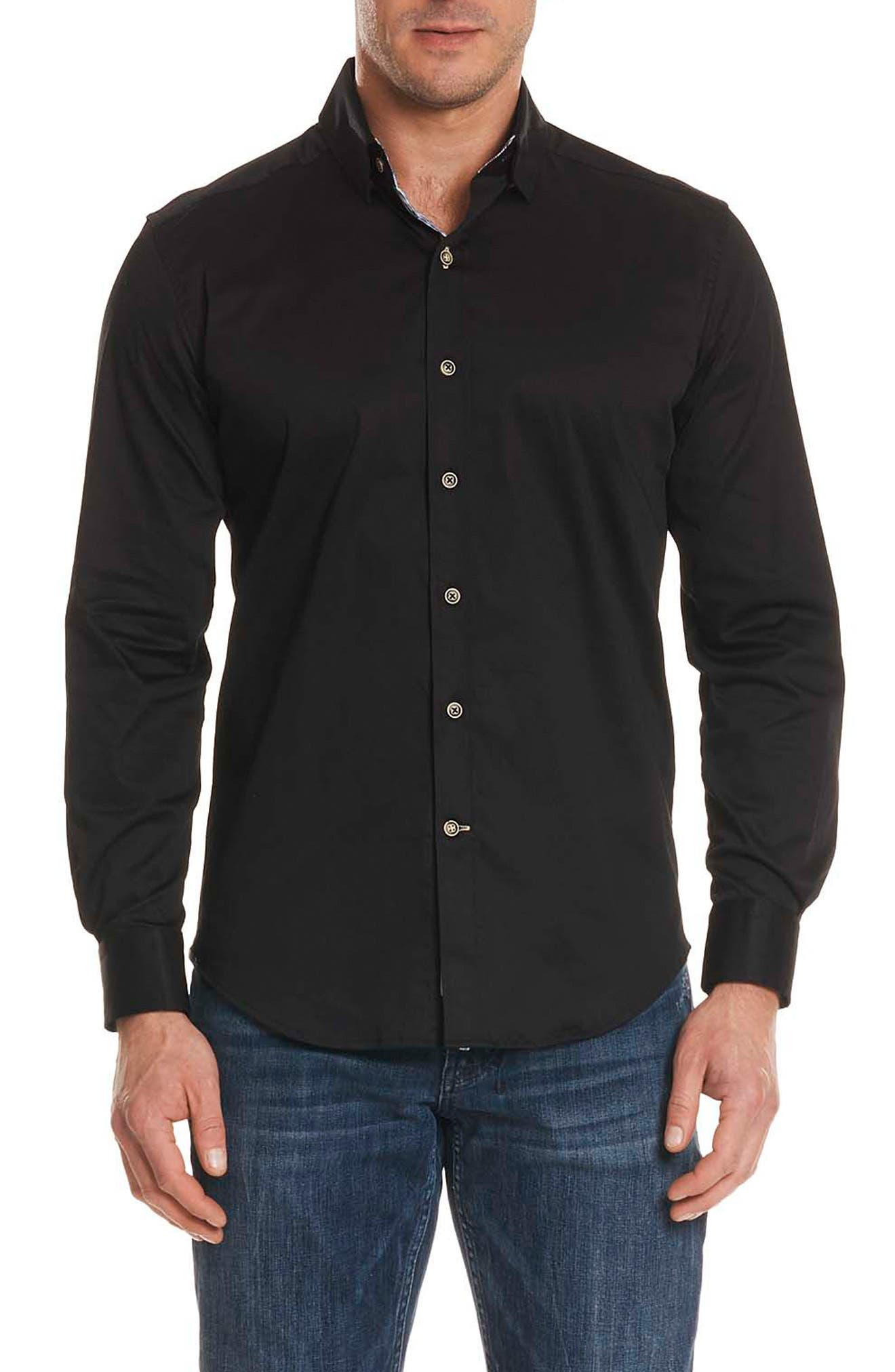 Caruso Tailored Fit Sport Shirt,                         Main,                         color, Black