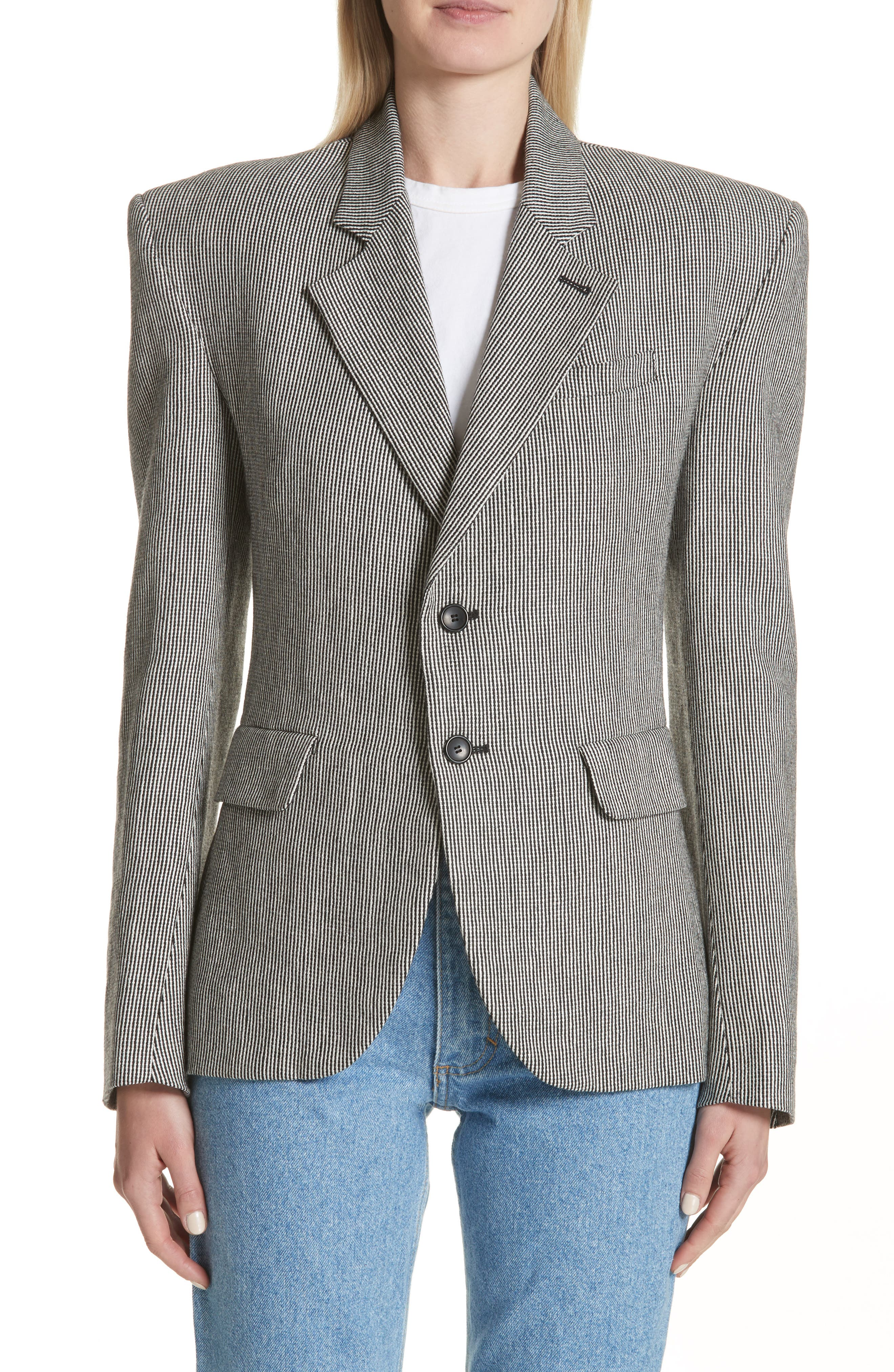 Stripe Tweed Blazer,                         Main,                         color, Black And White