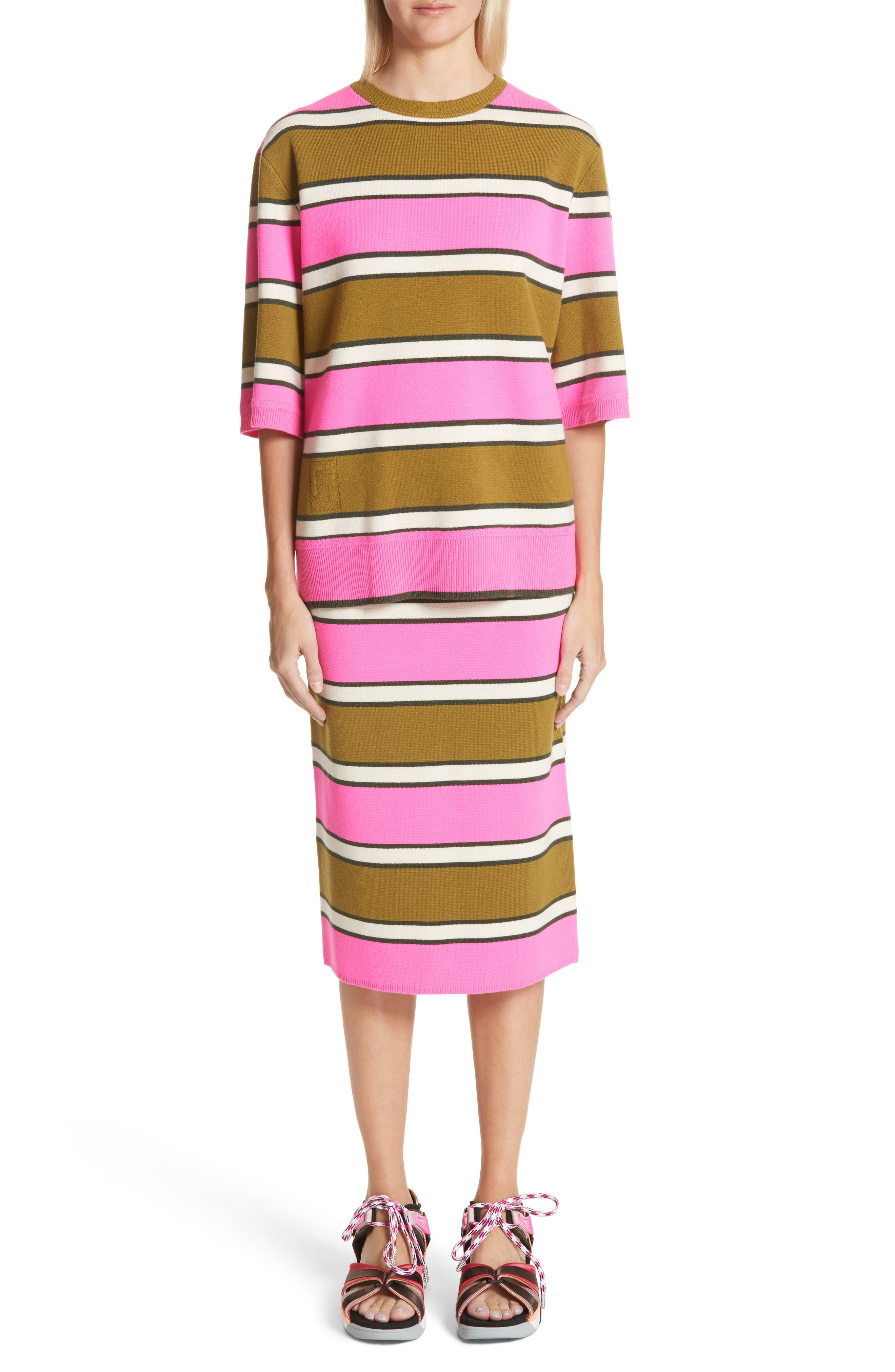 Oversize Stripe Cashmere Sweater,                             Alternate thumbnail 8, color,                             Pink Multi