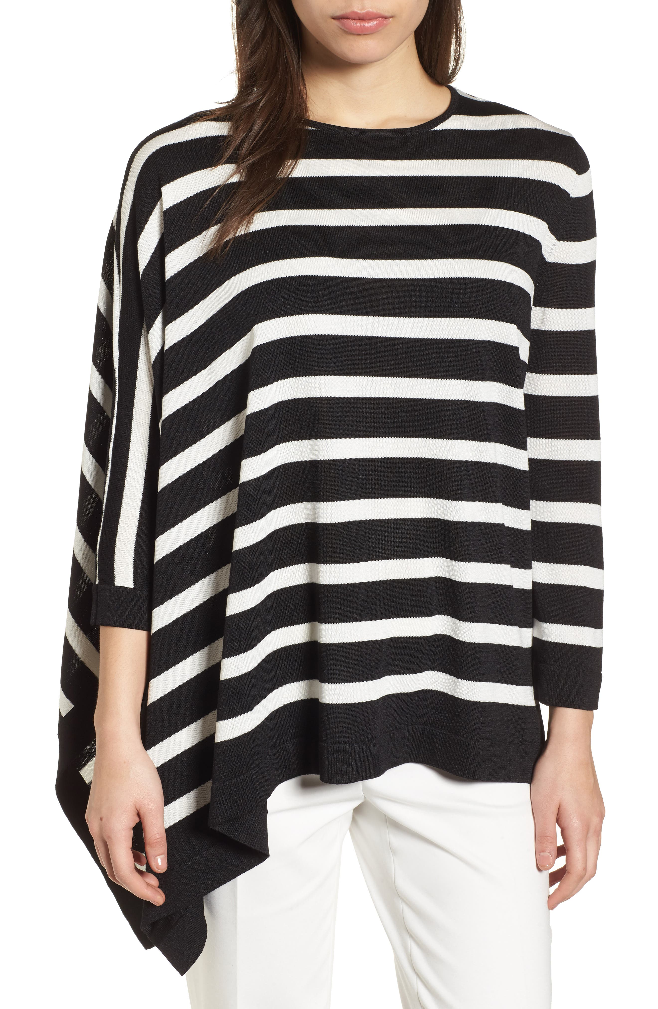 Asymmetrical Striped Sweater,                         Main,                         color, Black/ White