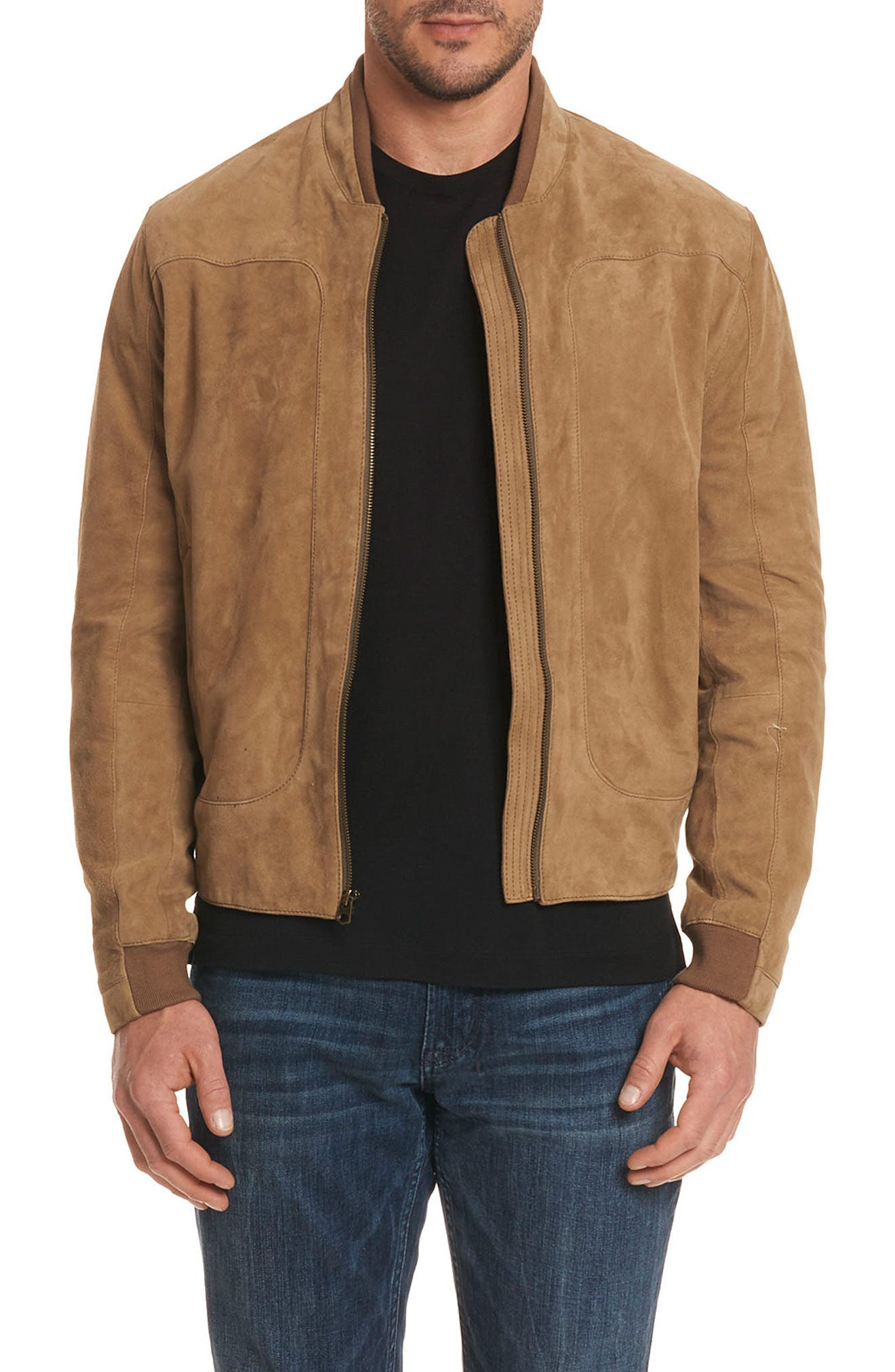 Ramos Suede Bomber Jacket,                             Main thumbnail 1, color,                             Tan