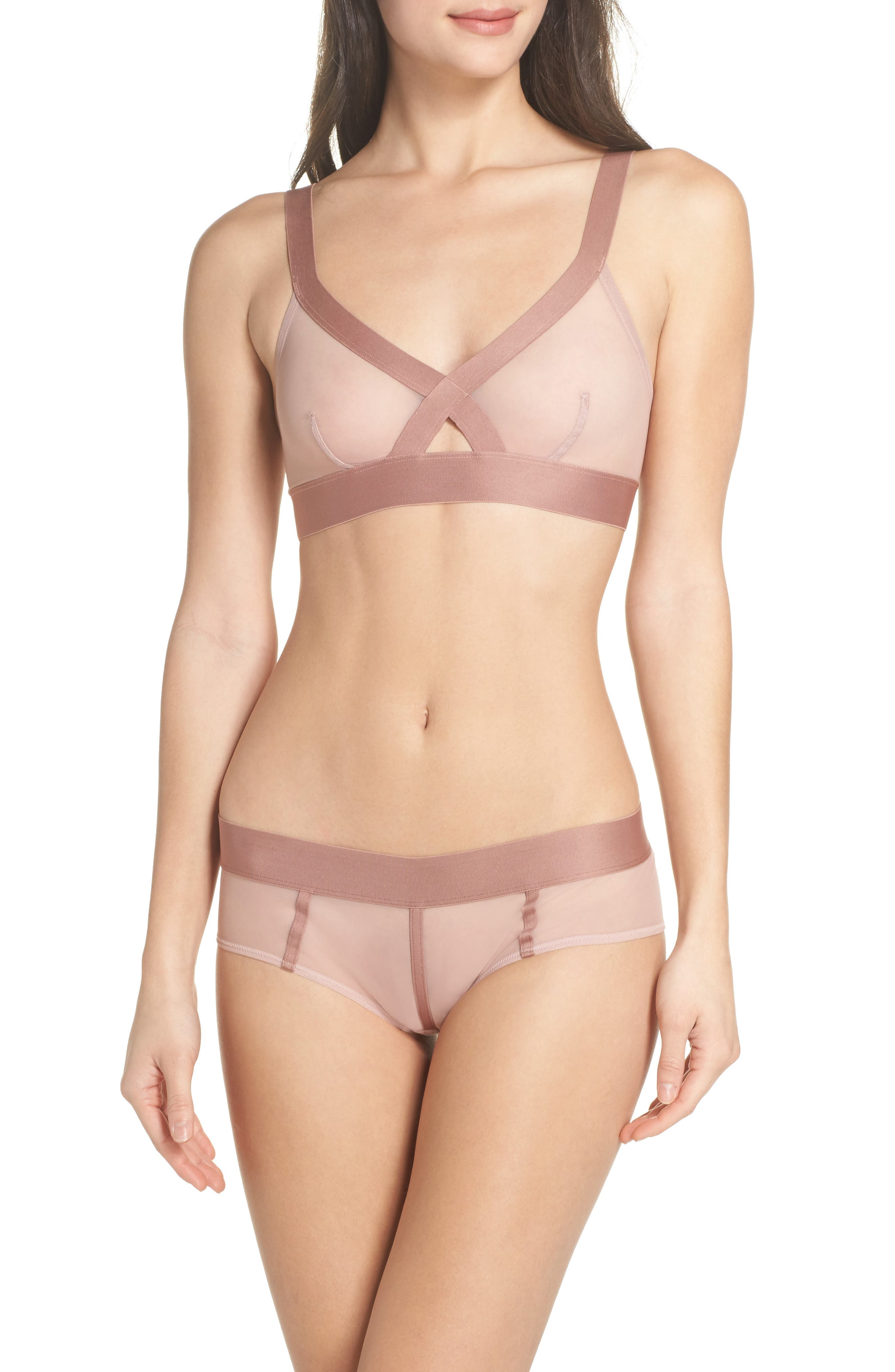 Sheers Wireless Bralette,                             Alternate thumbnail 6, color,                             Shell/Rouge