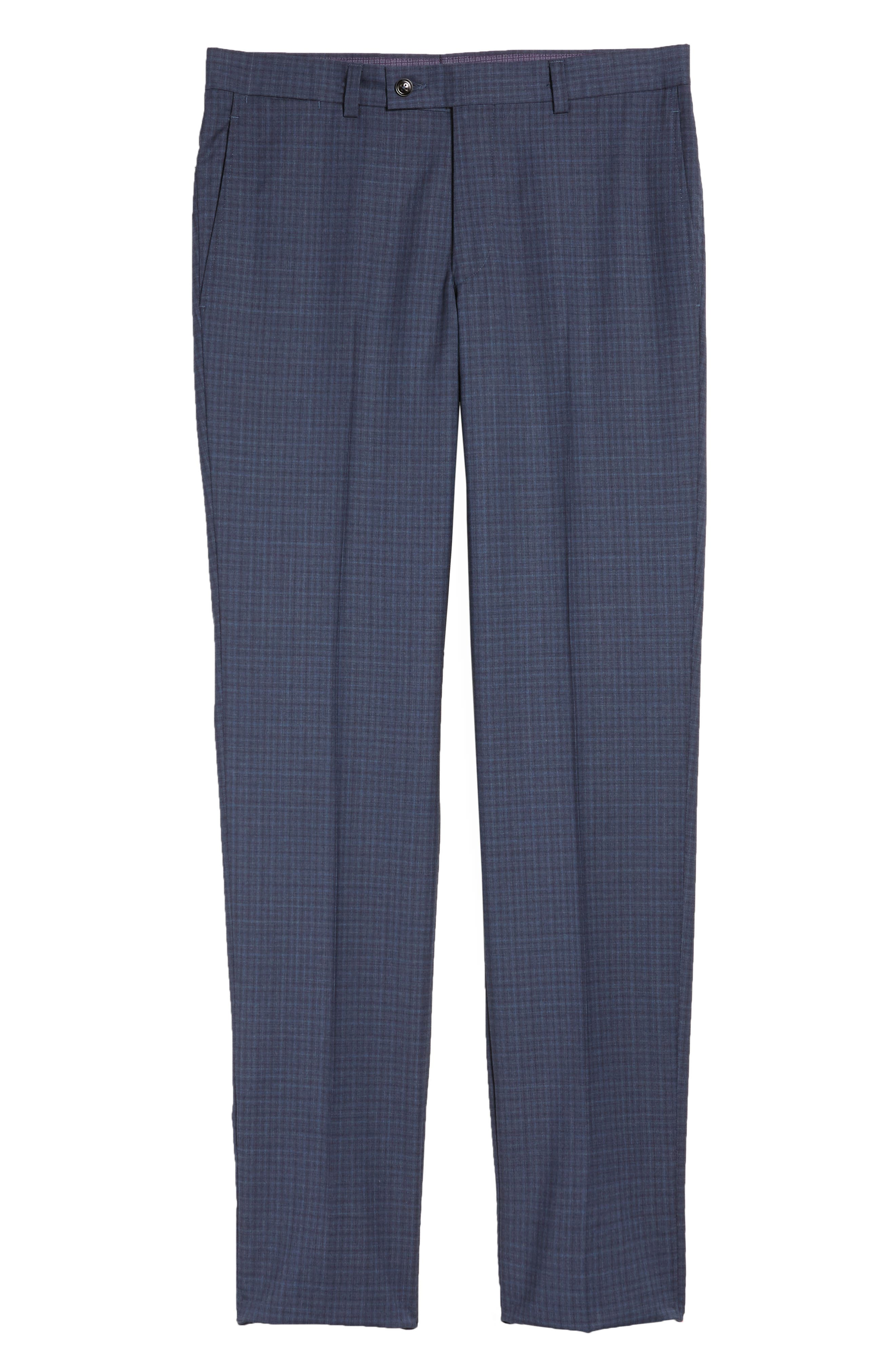 Jefferson Flat Front Check Wool Trousers,                             Alternate thumbnail 6, color,                             Blue